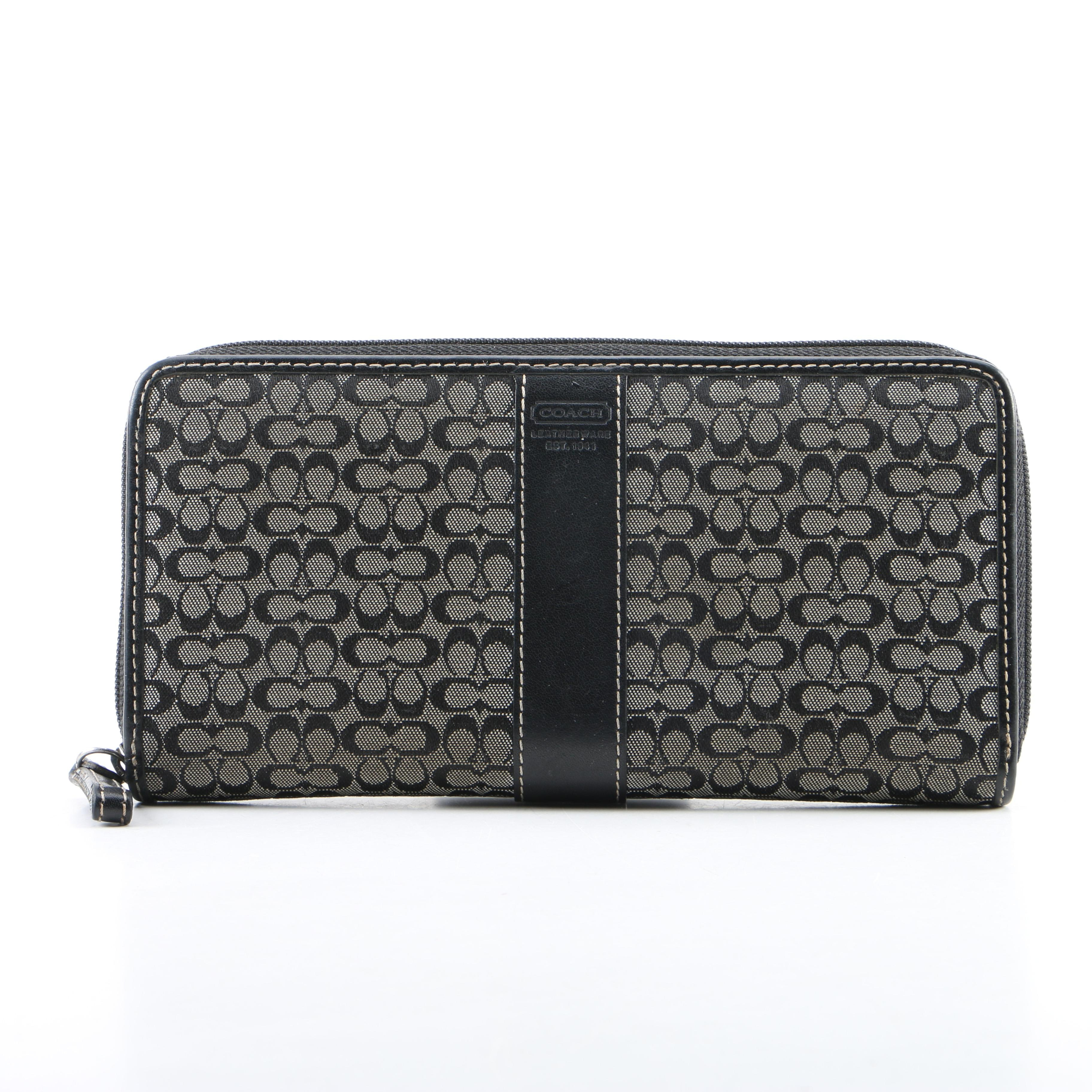 Coach Grey and Black Signature Stripe Canvas and Leather Wallet