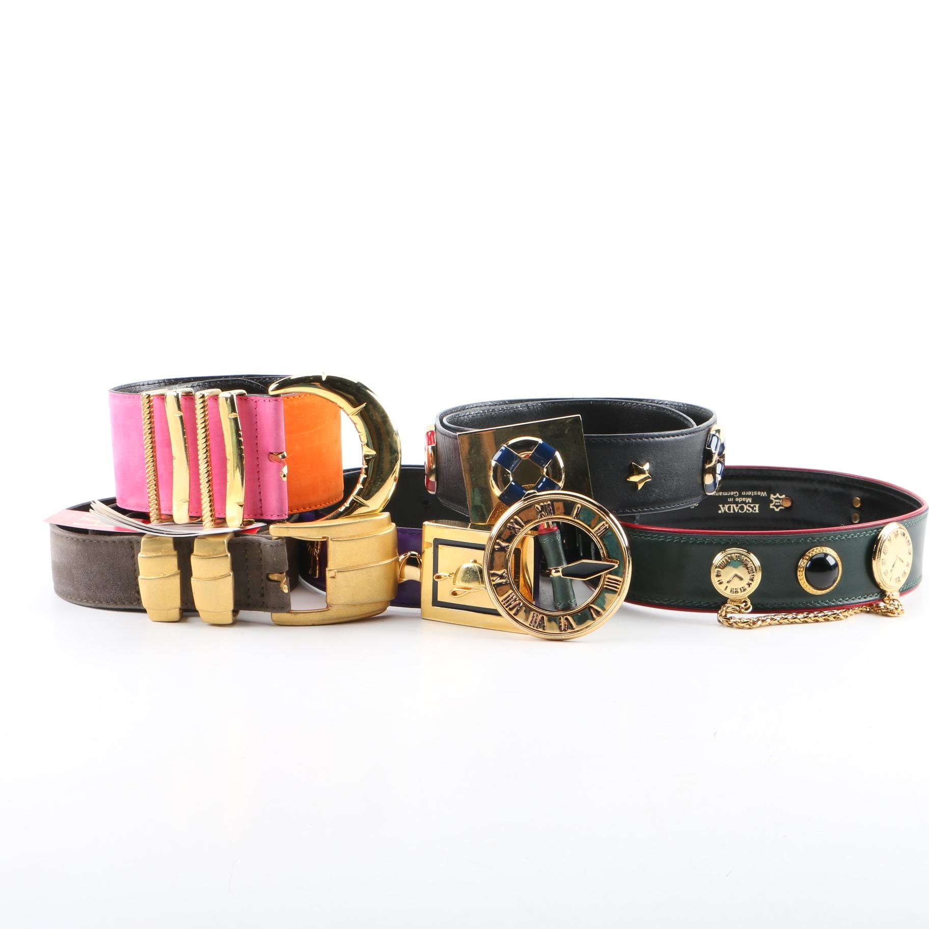 Women's Escada Colorblock and Embellished Leather and Suede Belts