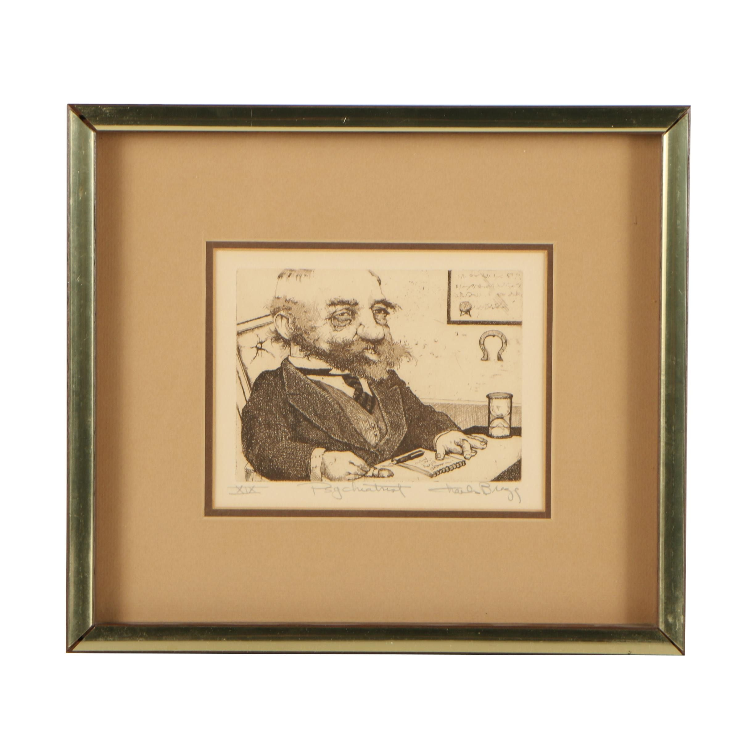 "Charles Bragg Etching ""The Psychiatrist"""