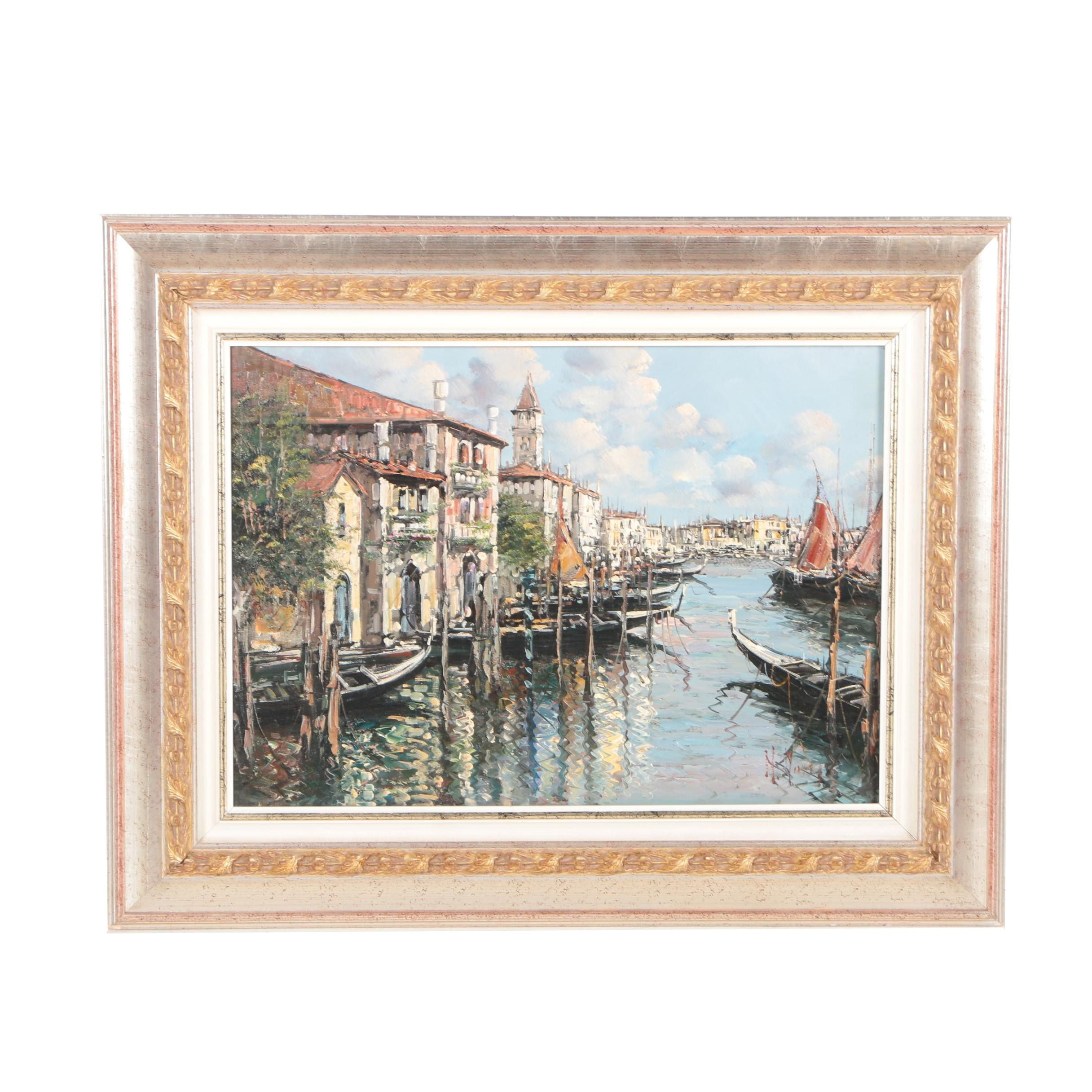 Oil Painting of Venetian Canal