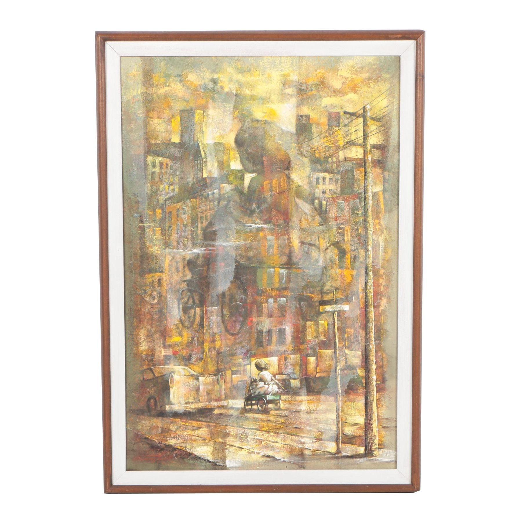 "Raymond Howell Oil Painting ""Wheeling on Four"""