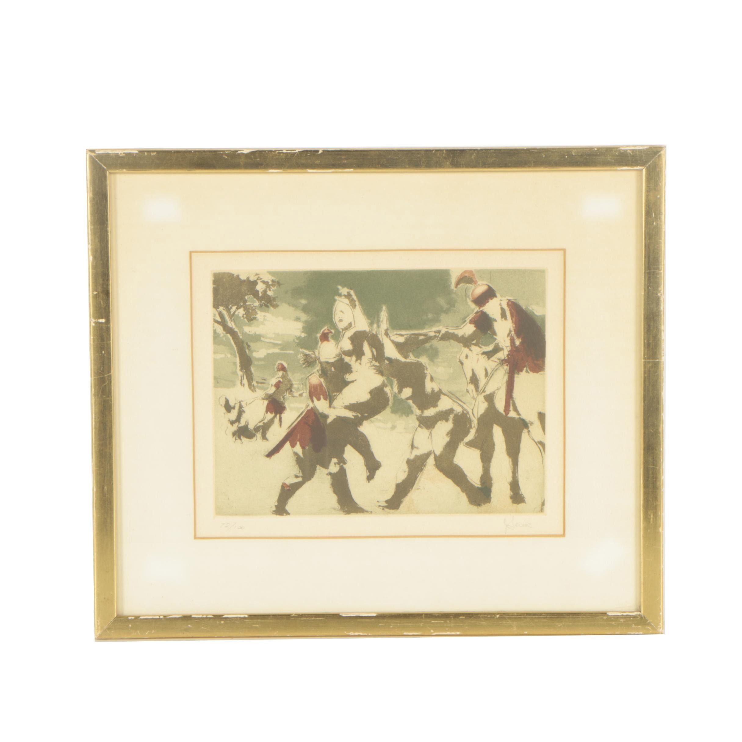 "Jack Levine Limited Edition Etching ""Rape of the Sabine Women"""