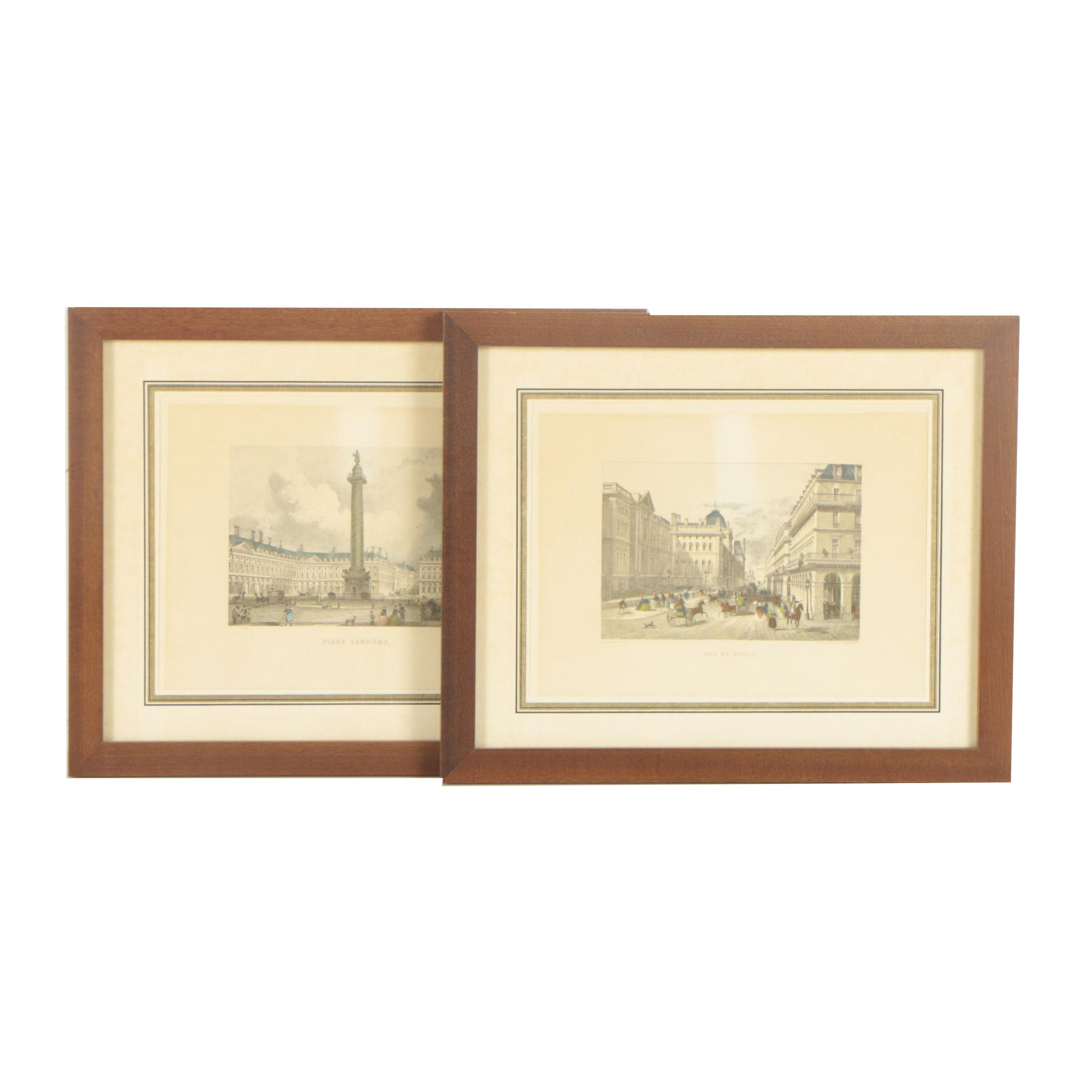 "Hand-Colored Lithographs ""Place Vendôme"" and ""Rue de Rivoli"""