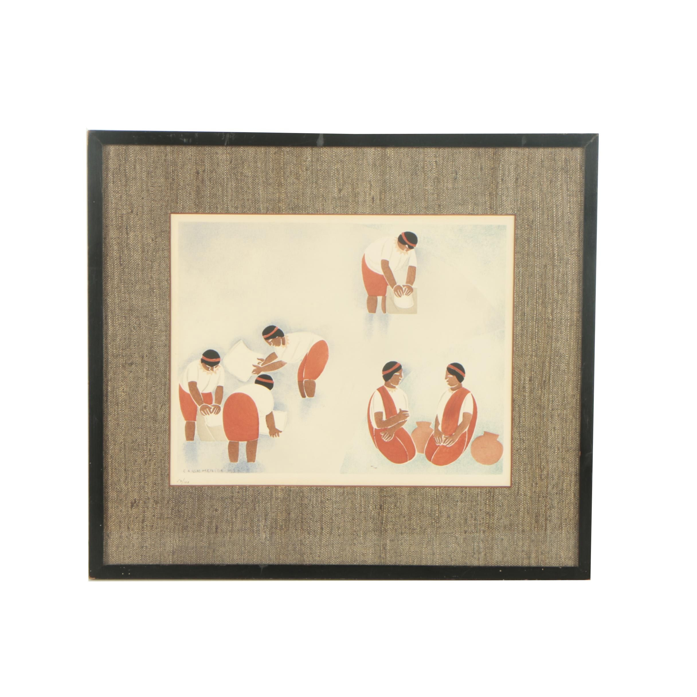"""Limited Edition Color Lithograph After Carlos Merida """"By the River"""""""