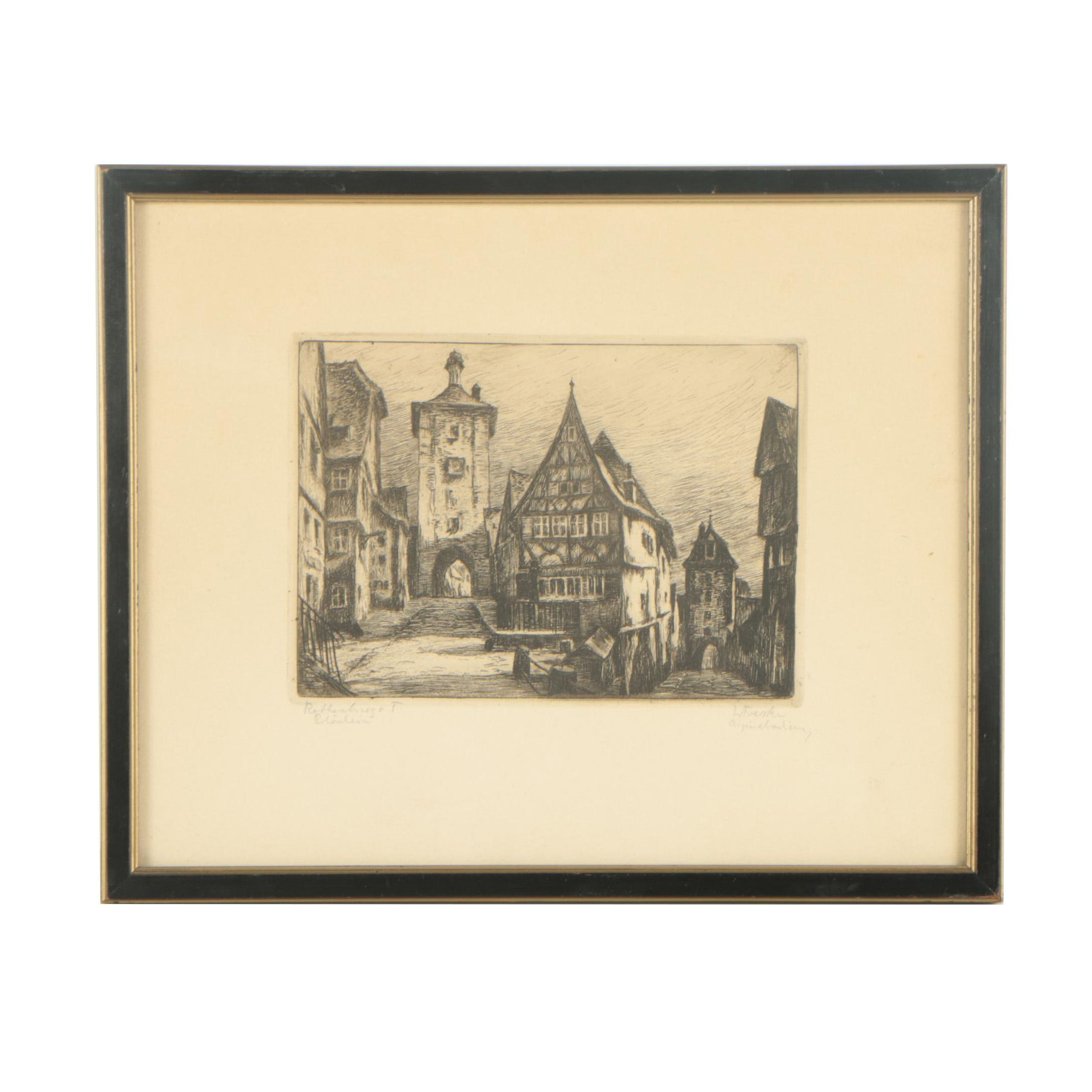 "Willi Foerster Etching ""Rothenburg O.T. Plönlein"""