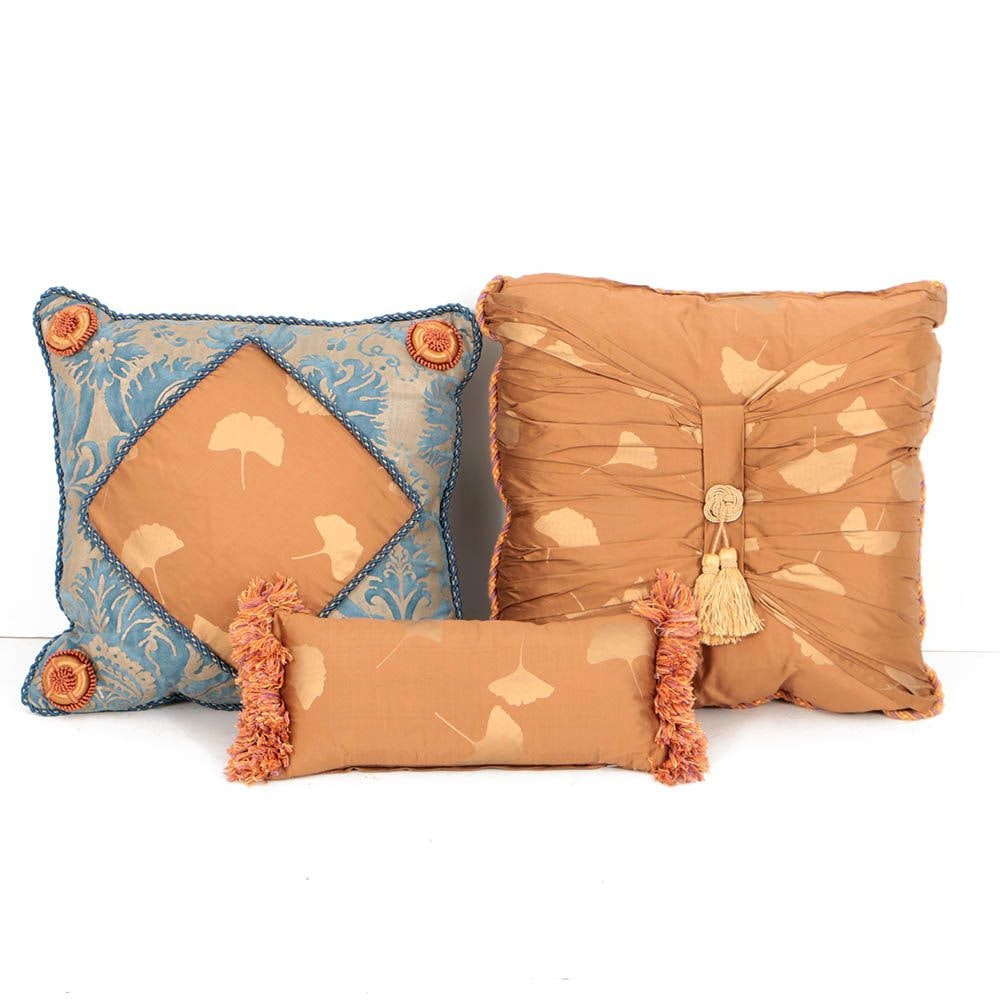Coordinating Decorative Pillows, One in Fortuny Italian Fabric