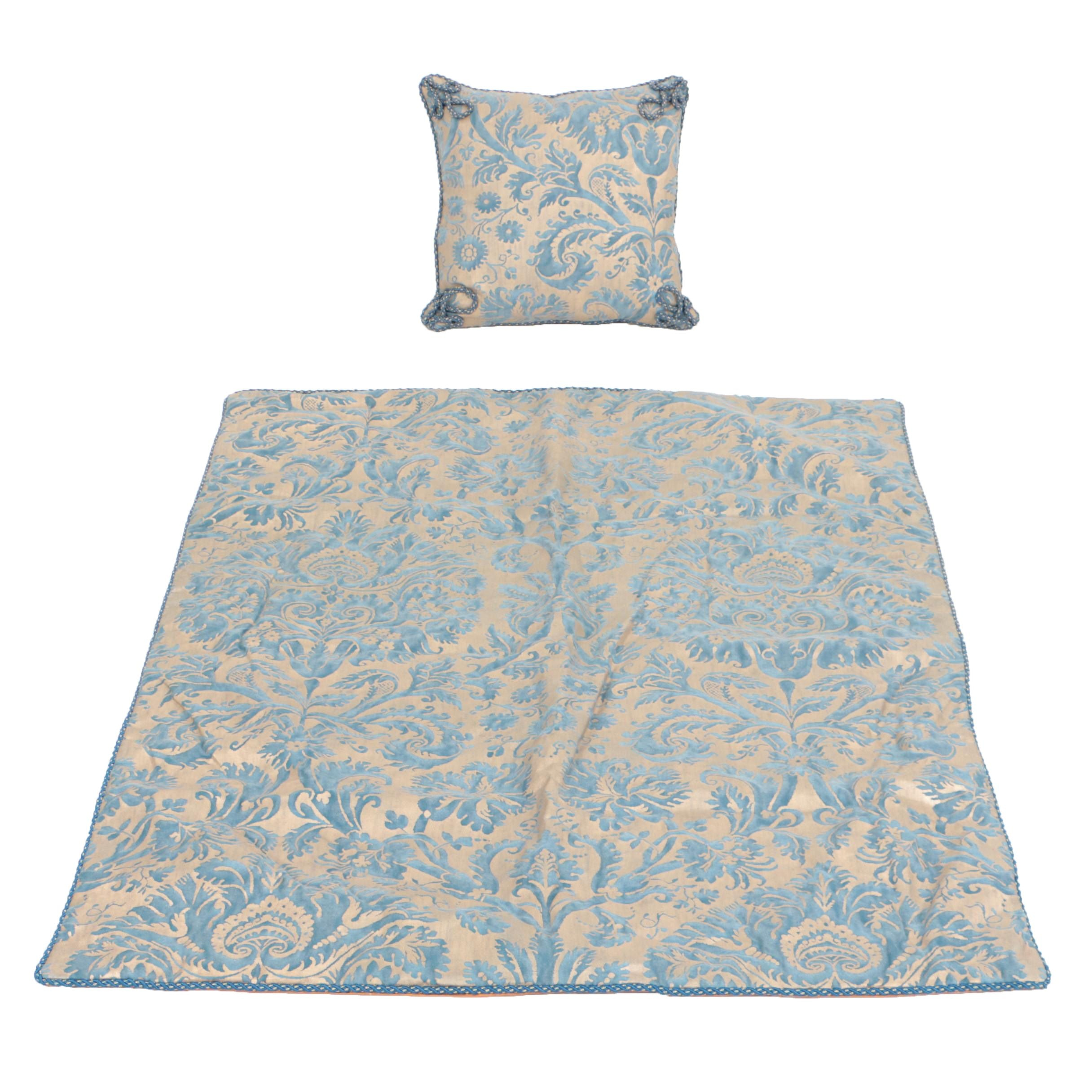 """Fortuny """"De Medici"""" Custom Made Coverlet and Accent Pillow"""