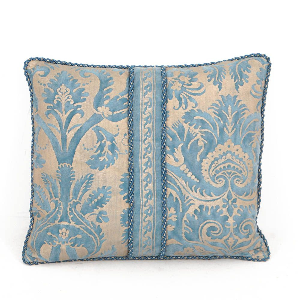 """Fortuny """"DeMedici"""" Feather Filled Decorative Pillows in Blue and Gold"""