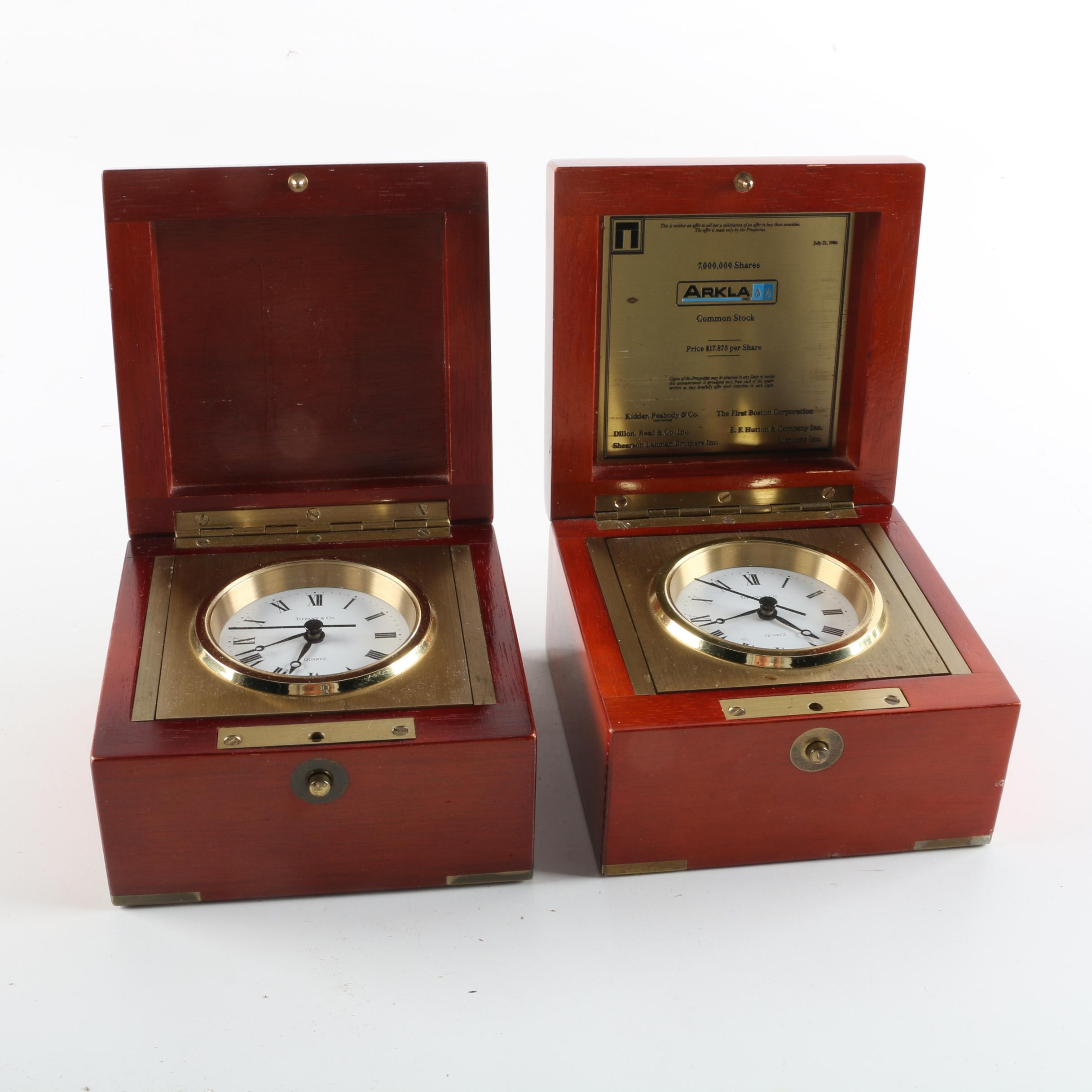 Vintage Tiffany Co Swing Desk Clocks In Wooden Boxes Ebth