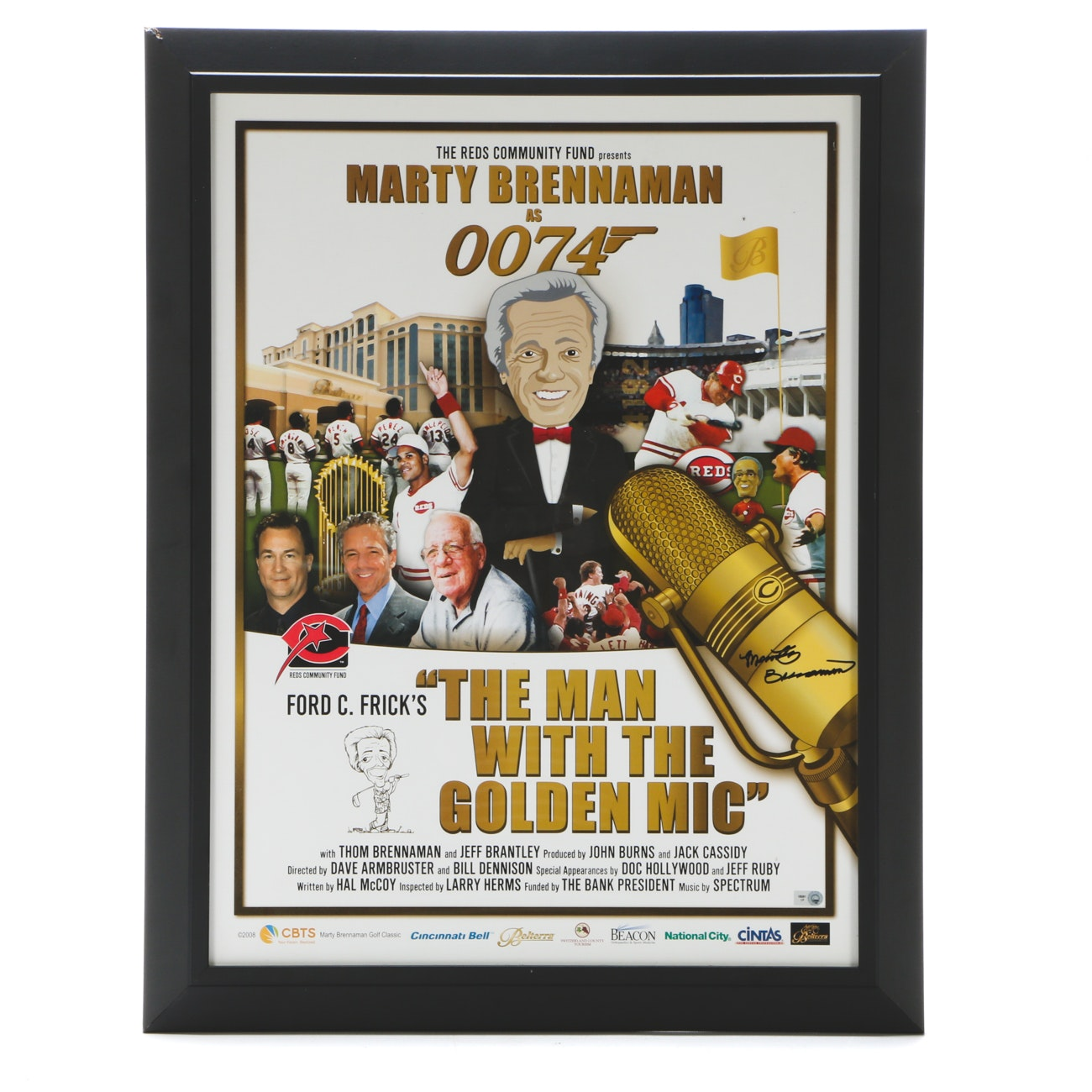 "Marty Brennaman Signed ""The Man With The Golden Mic"" Framed Display"