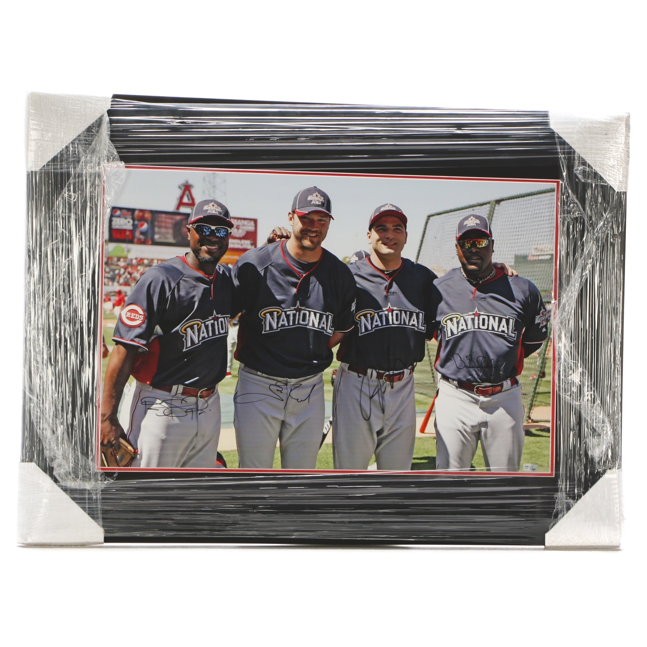 2010 Reds NL All-Stars Votto, Phillips, Rhodes, and Rolen Signed Display