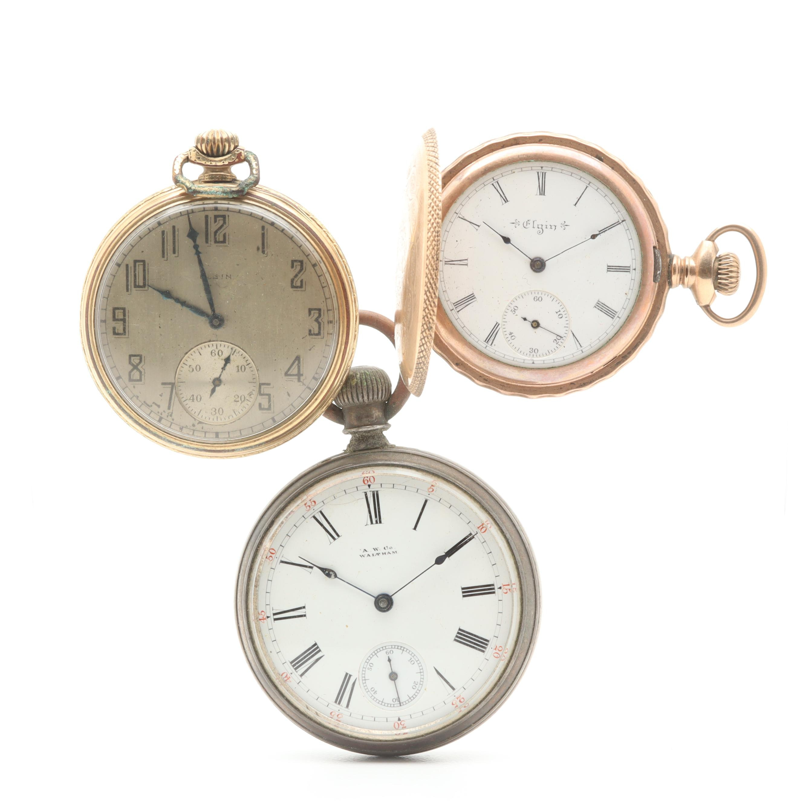 Gold-Tone Pocket Watch Assortment Including Elgin and Waltham