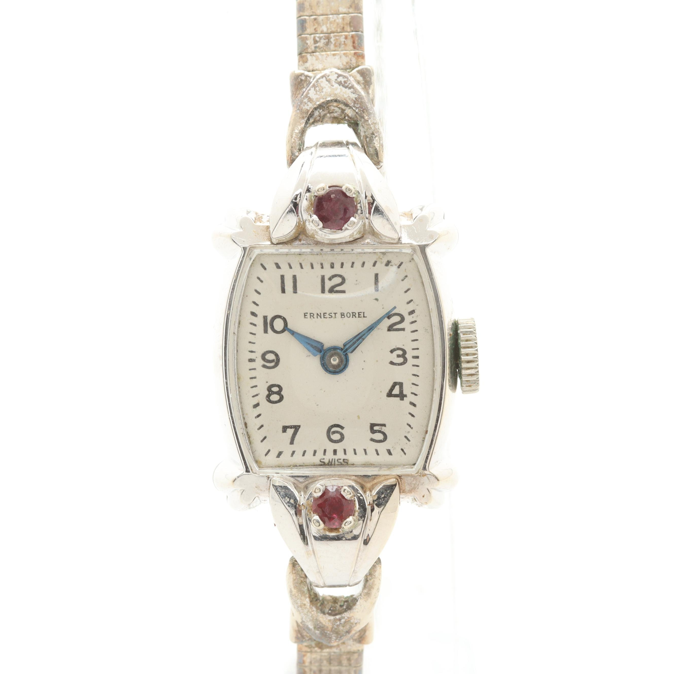 Ernest Borel 14K White Gold Ruby Accented Wristwatch