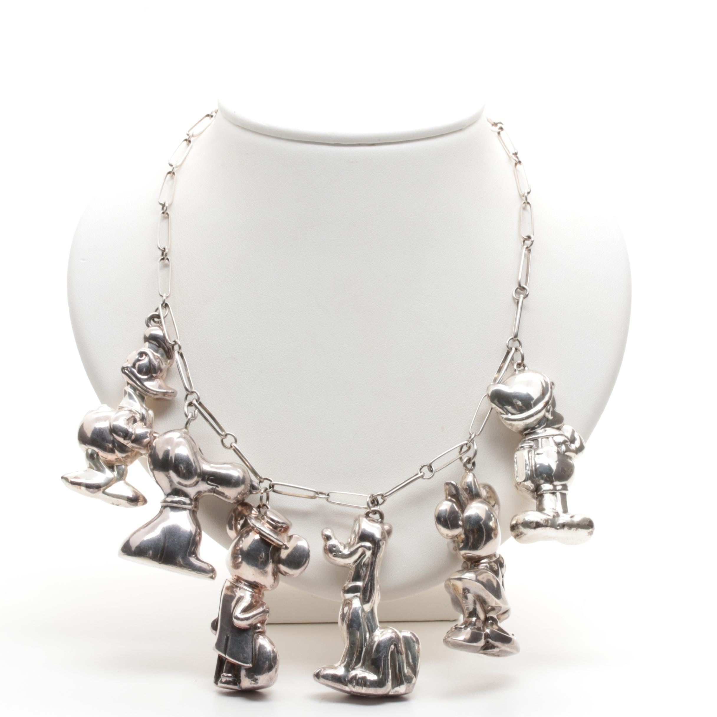 Disney Sterling Silver Character Necklace Including Snoopy