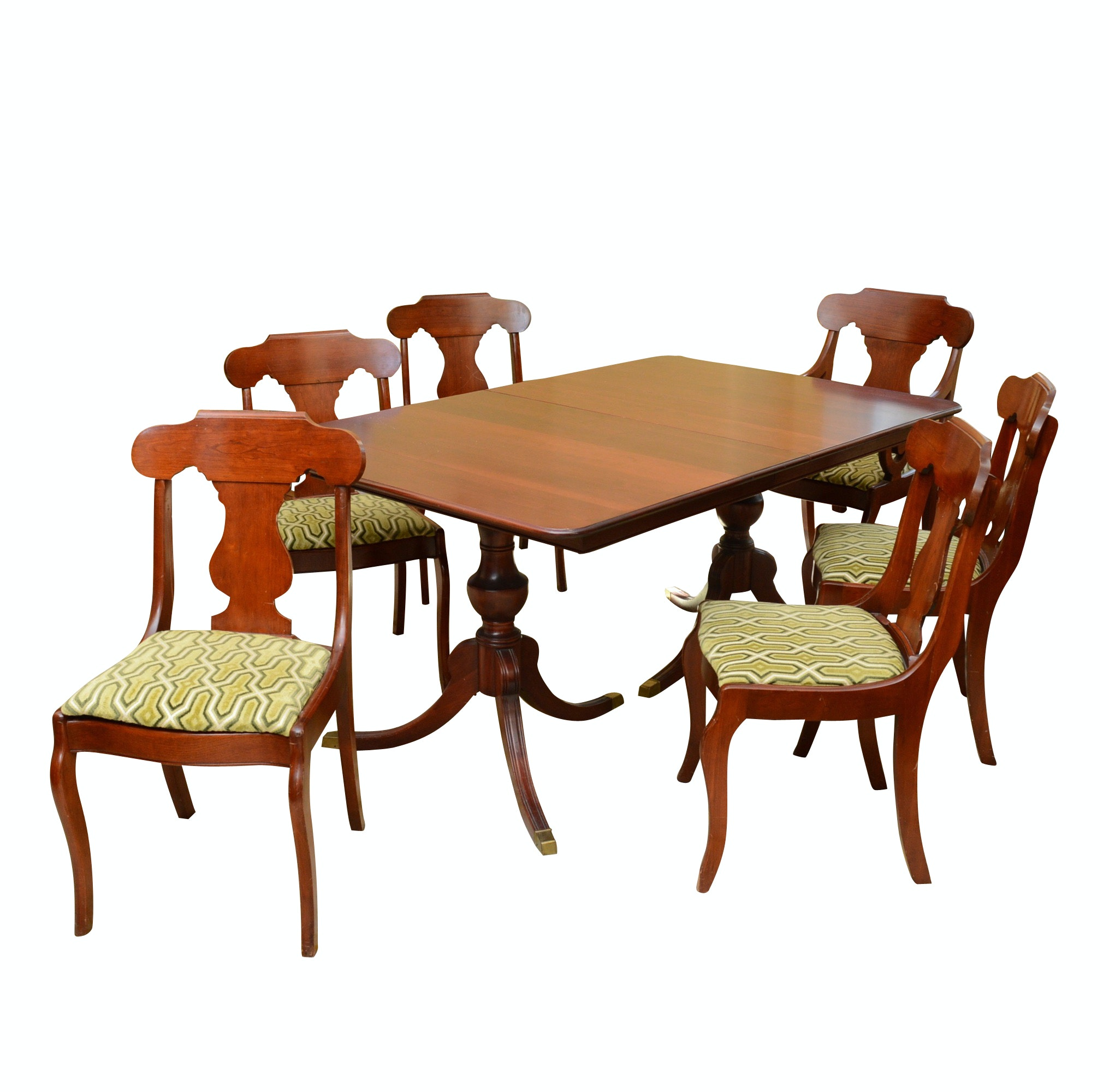 Vintage Cherry Dining Table with Six Chairs Upholstered in Carved Velvet