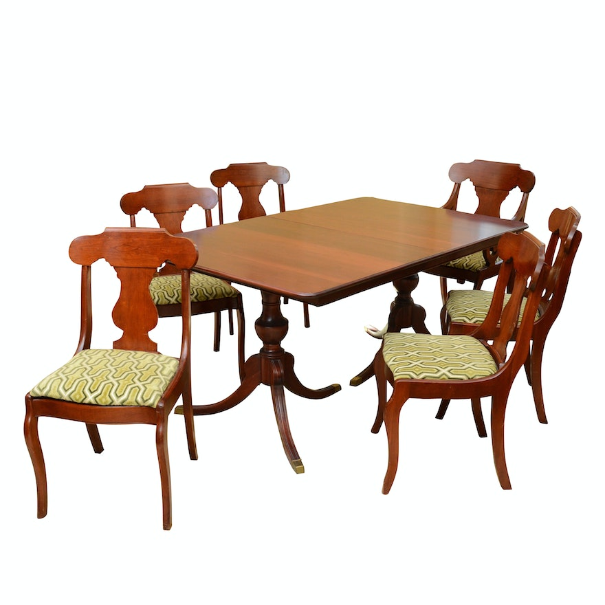 Awesome Vintage Cherry Dining Table With Six Chairs Upholstered In Carved Velvet Ibusinesslaw Wood Chair Design Ideas Ibusinesslaworg