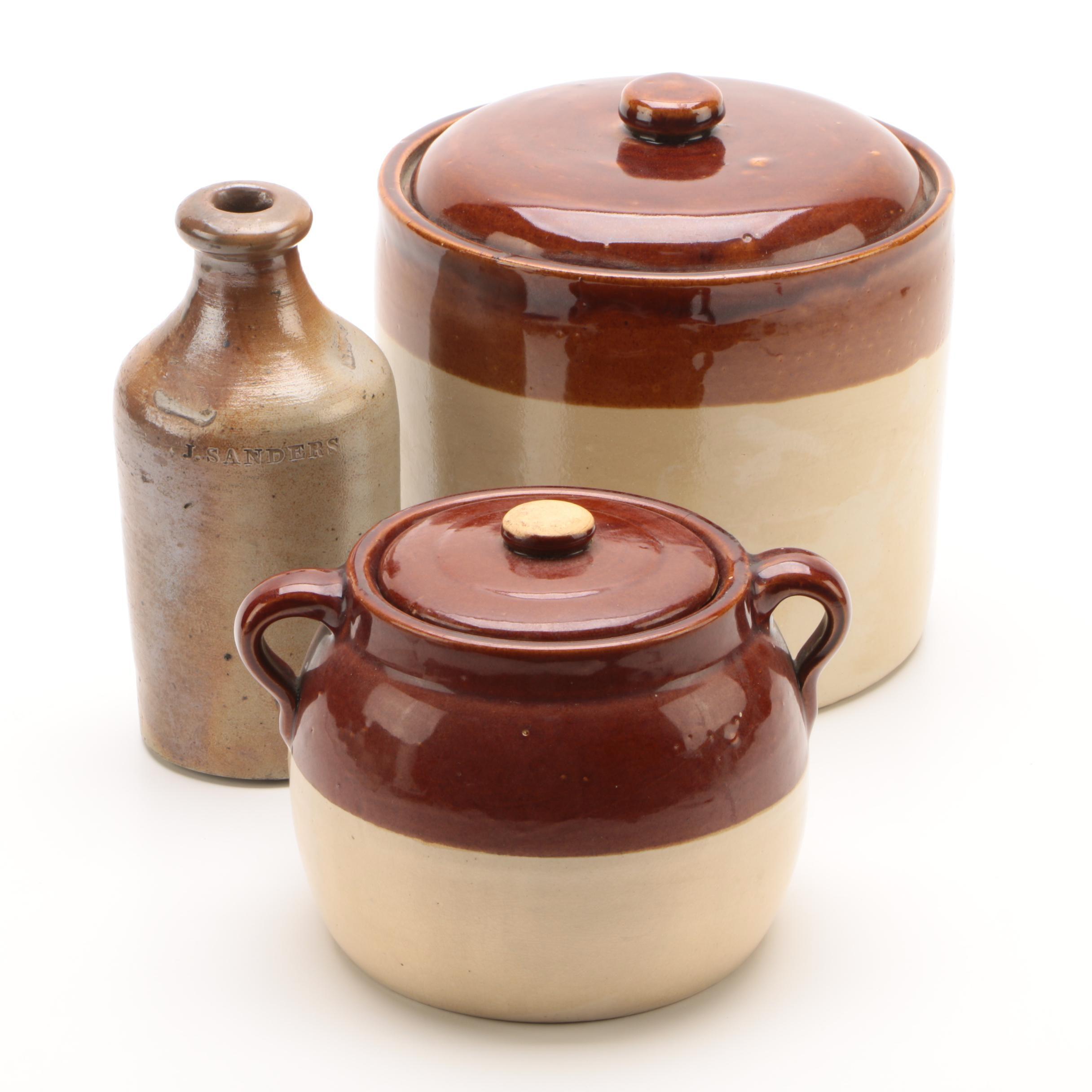 Vintage Slip Glazed Lidded Crock and Bean Pot with Salt Glazed Bottle
