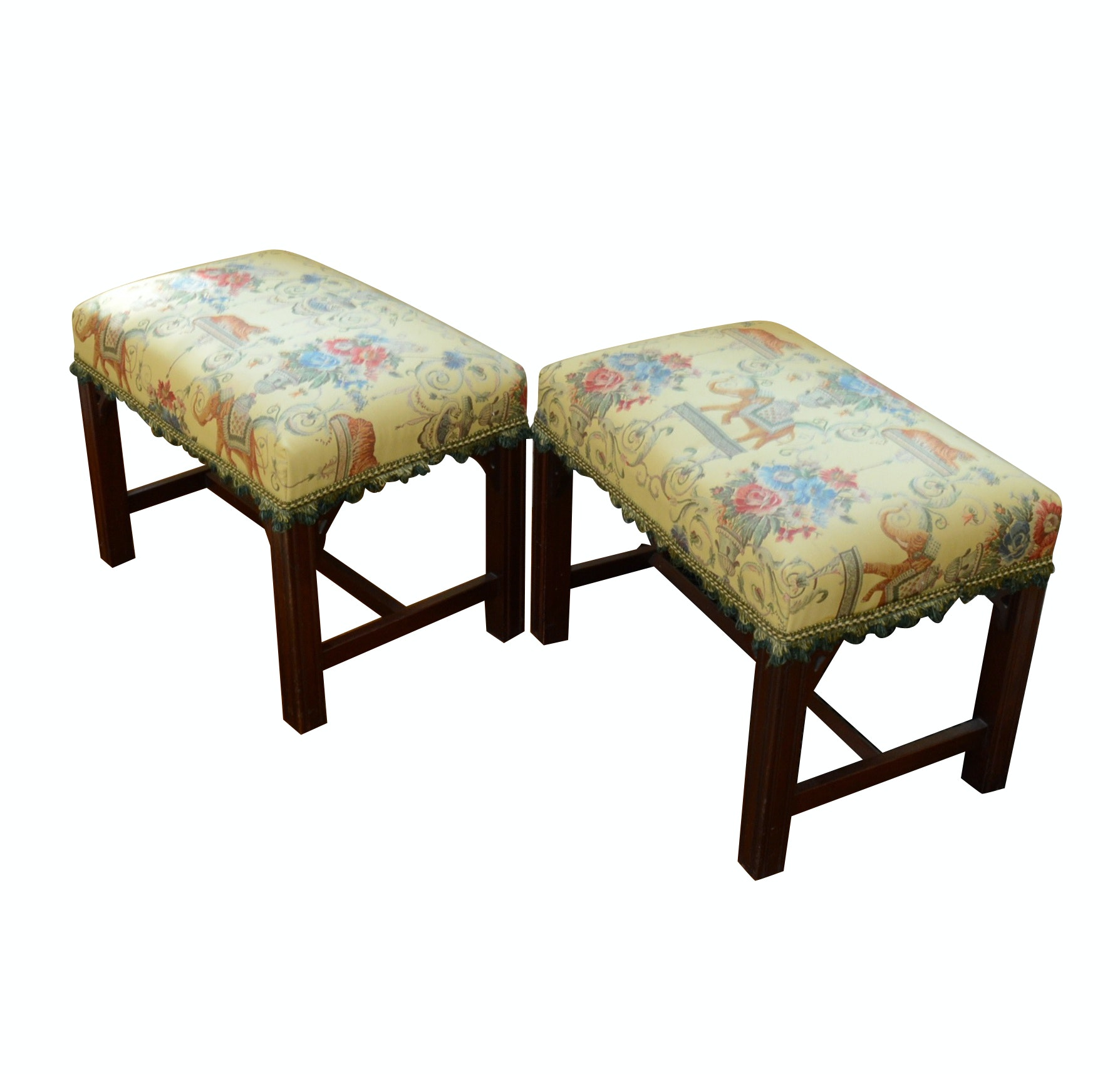 Pair of Custom Upholstered Benches