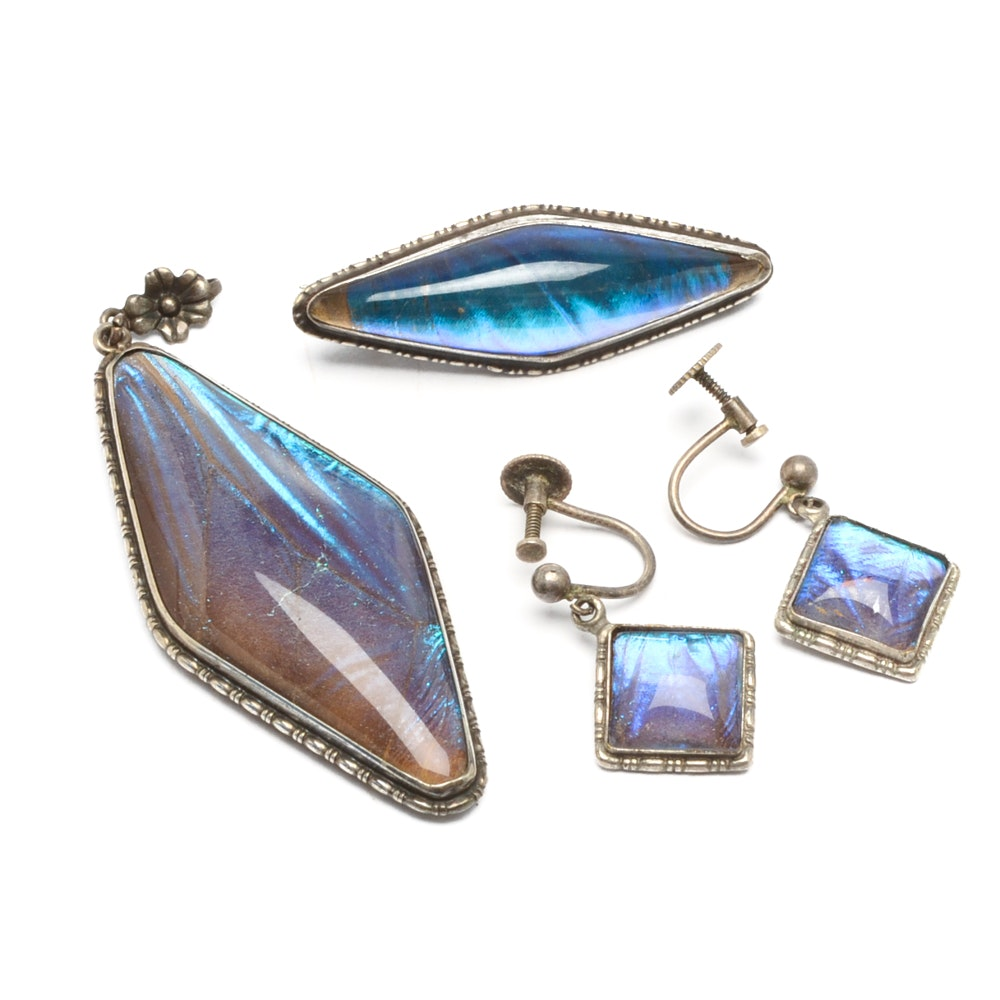 Sterling Silver Blue Morpho Wing Jewelry Set