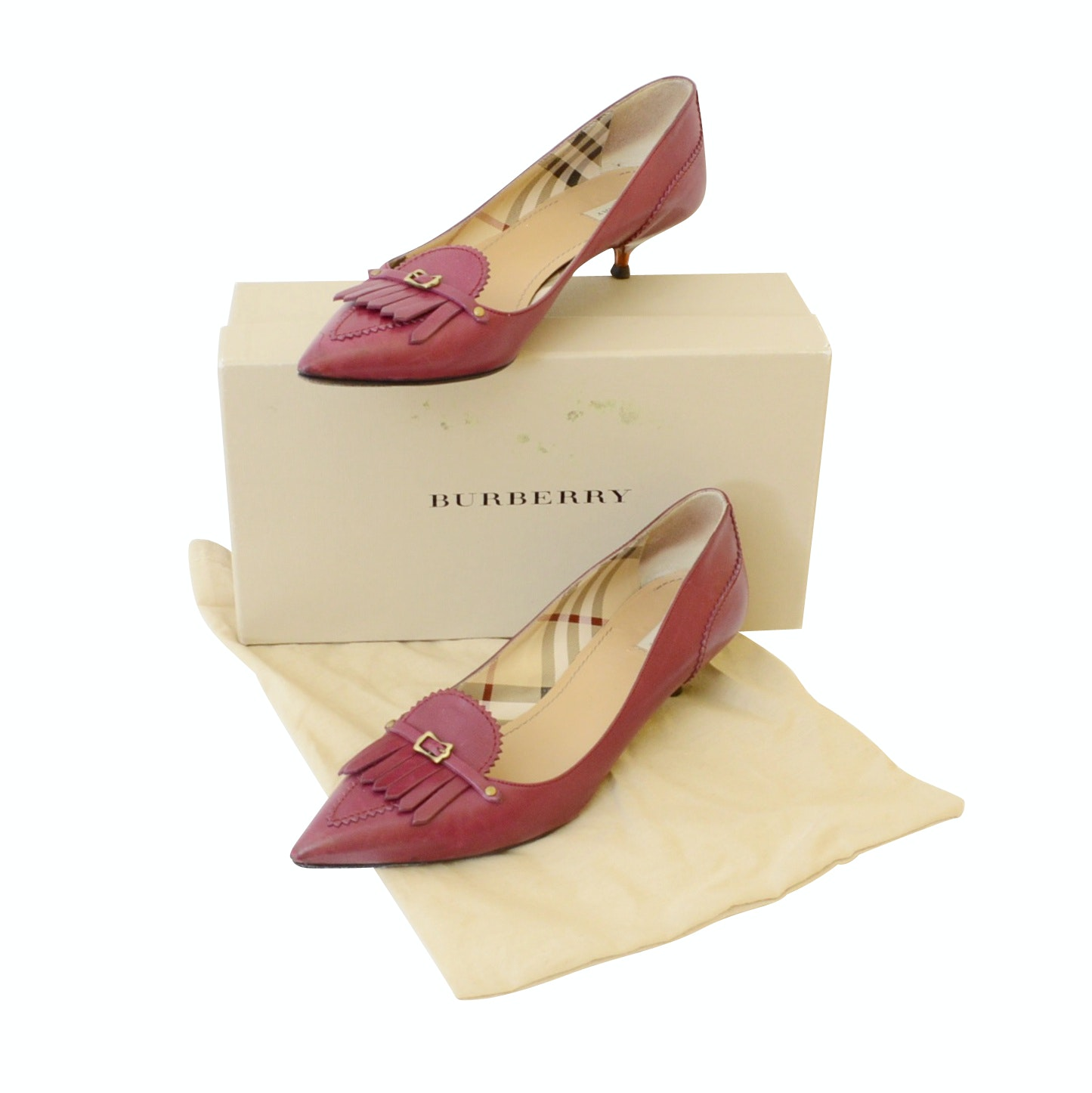 Women's Burberry Red Leather Pointed Kitten Heels and Salvatore Ferragama Shoes