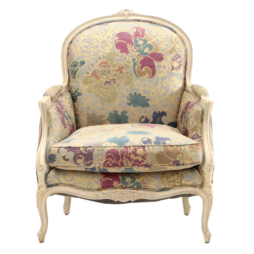 Victorian-Style Upholstered Arm Chair