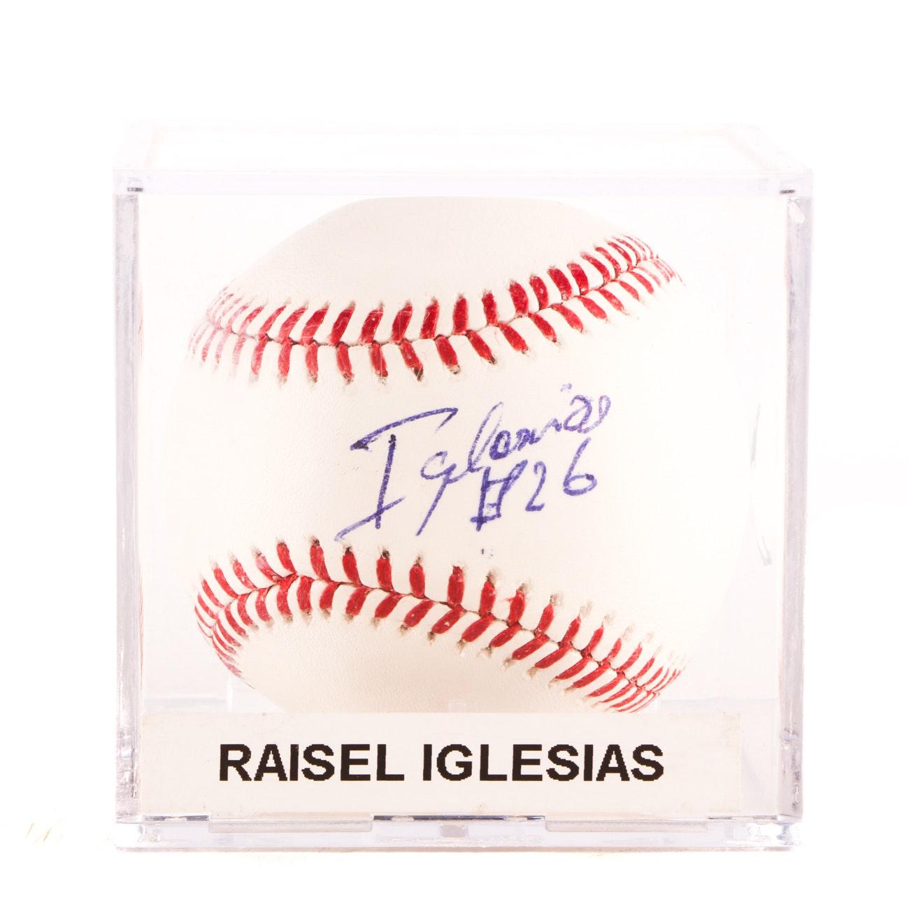 Raisel Iglesias Cincinnati Reds Rawlings Signed MLB Baseball JSA COA