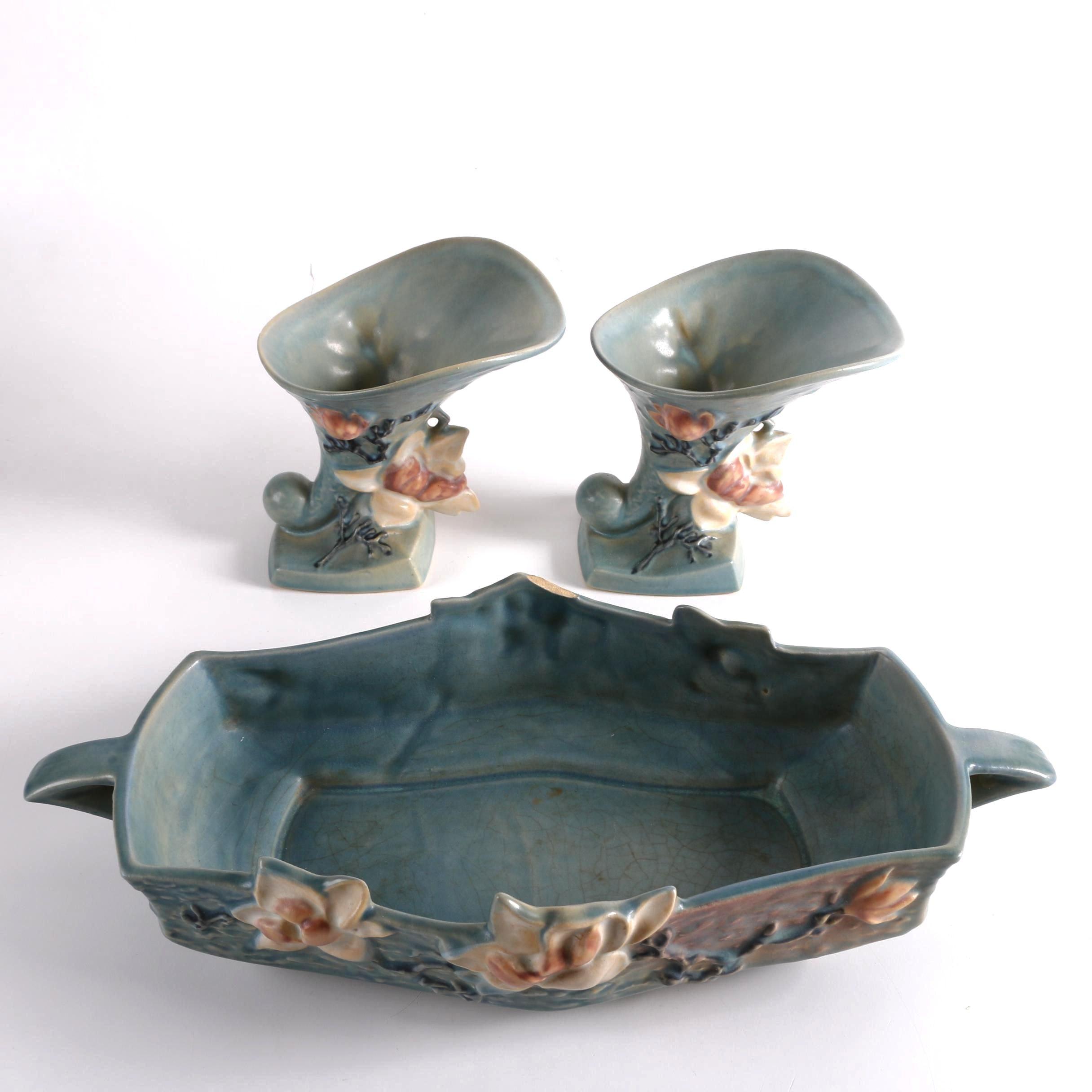 """1940s Roseville """"Magnolia"""" Cornucopia Vases and Console Bowl"""