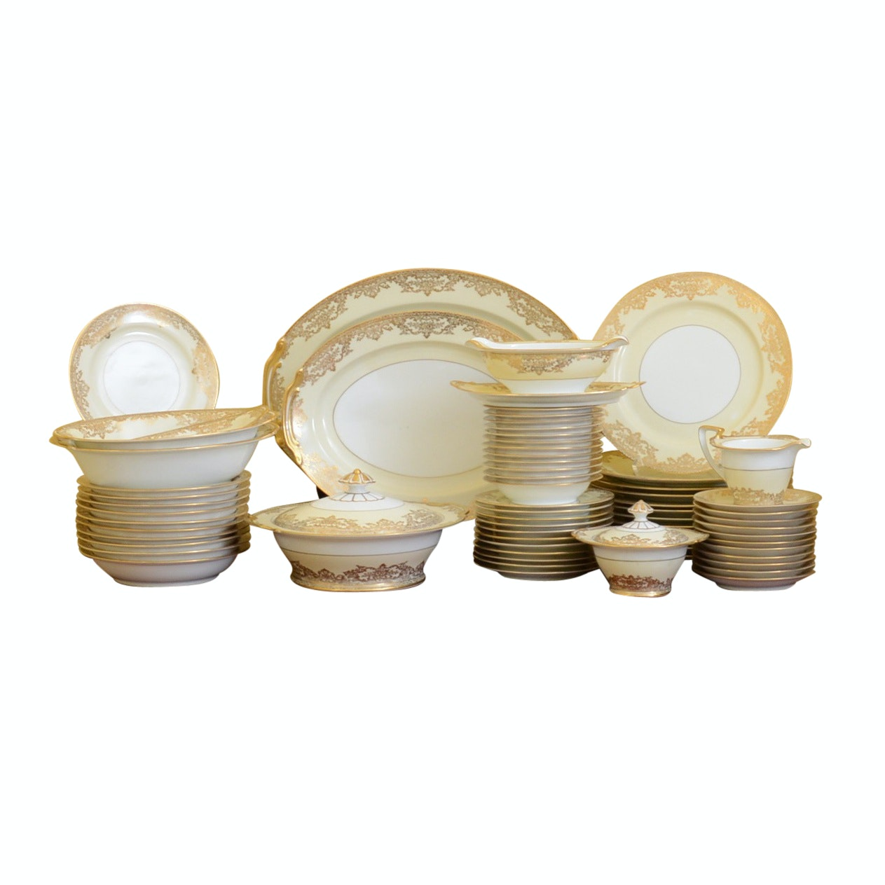 "Collection of Early Noritake ""Glenmore"" Encrusted Dinnerware"