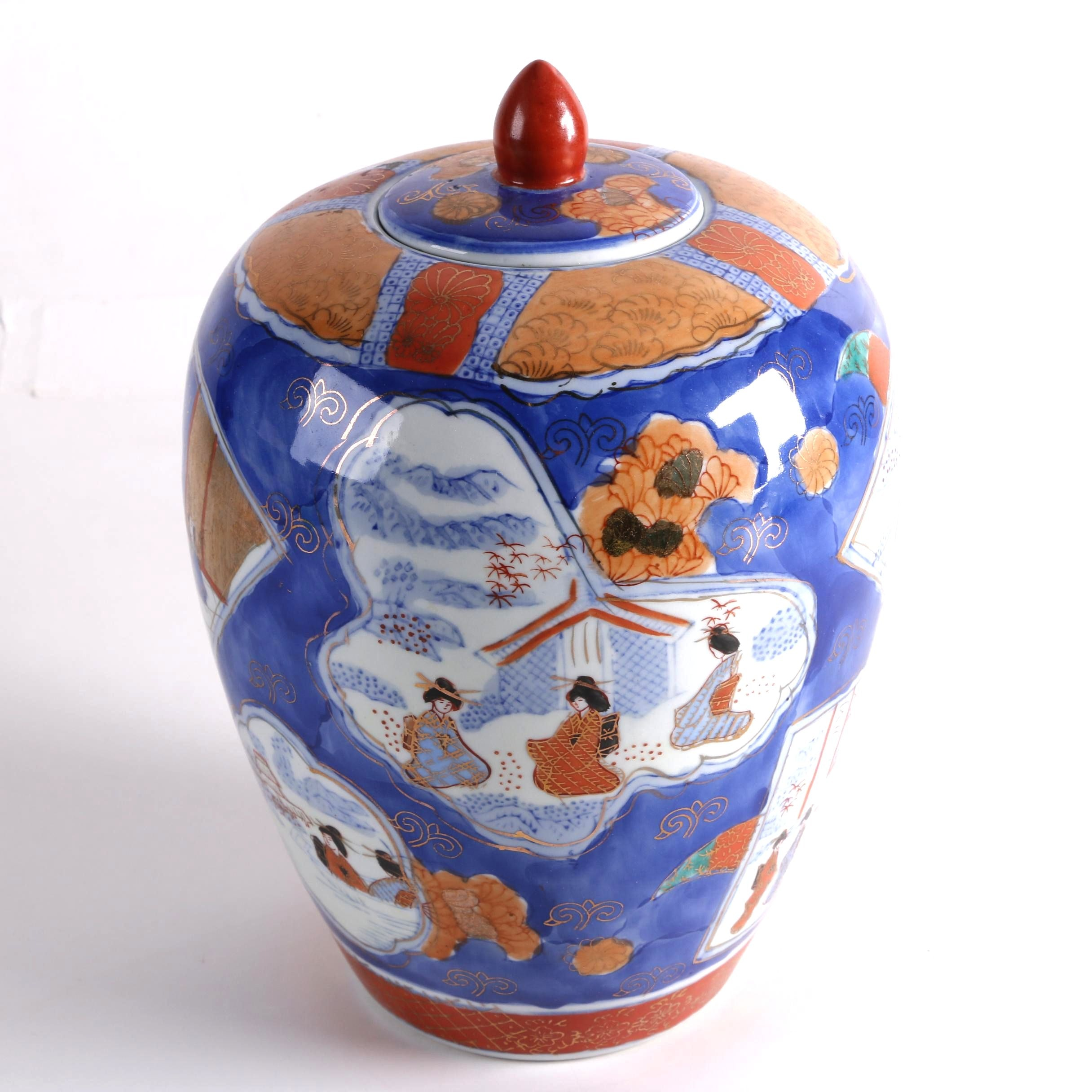 Chinese Hand-Painted Imari Style Ginger Jar