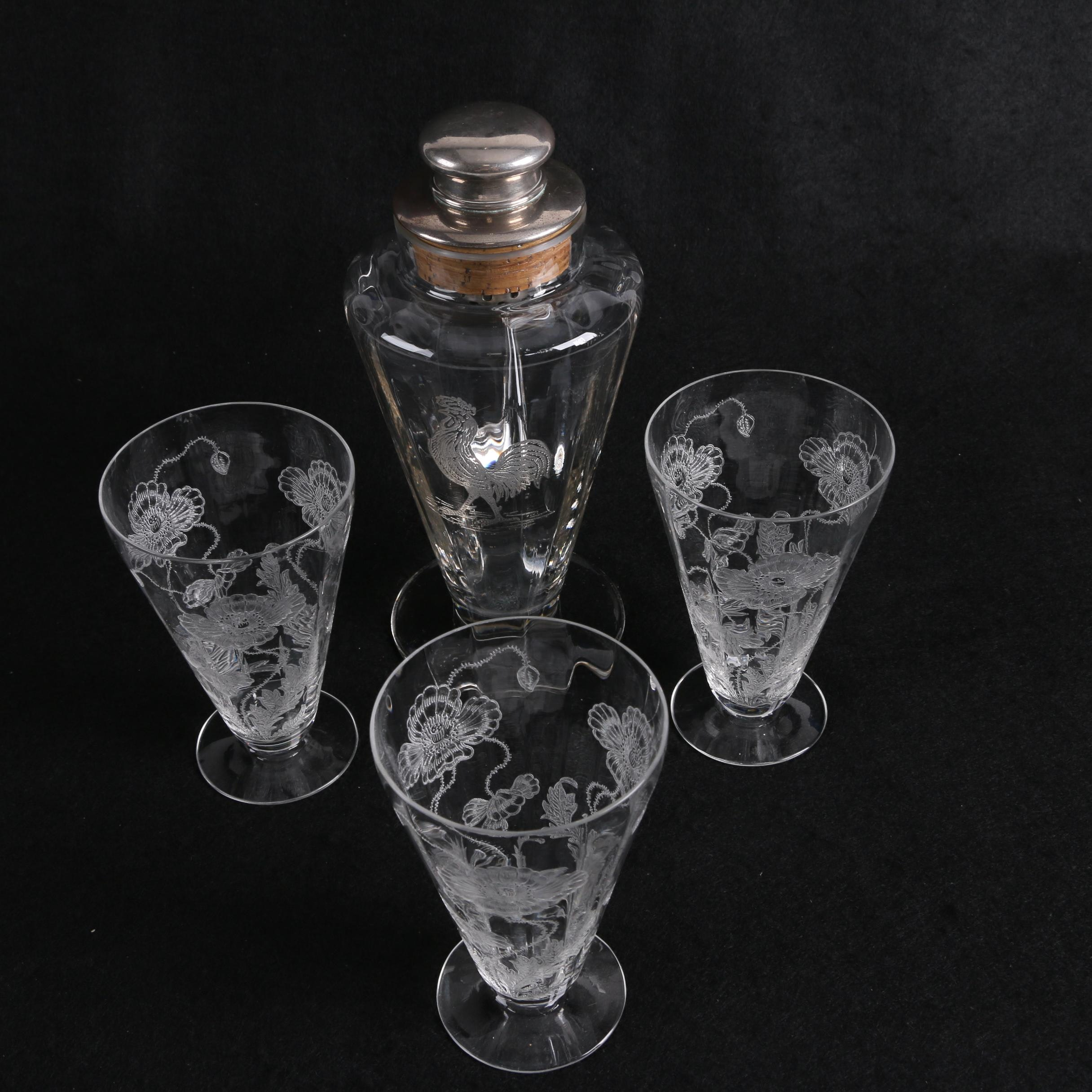 Vintage Needle Etched Rooster Motif Cocktail Shaker with Floral Juice Glasses