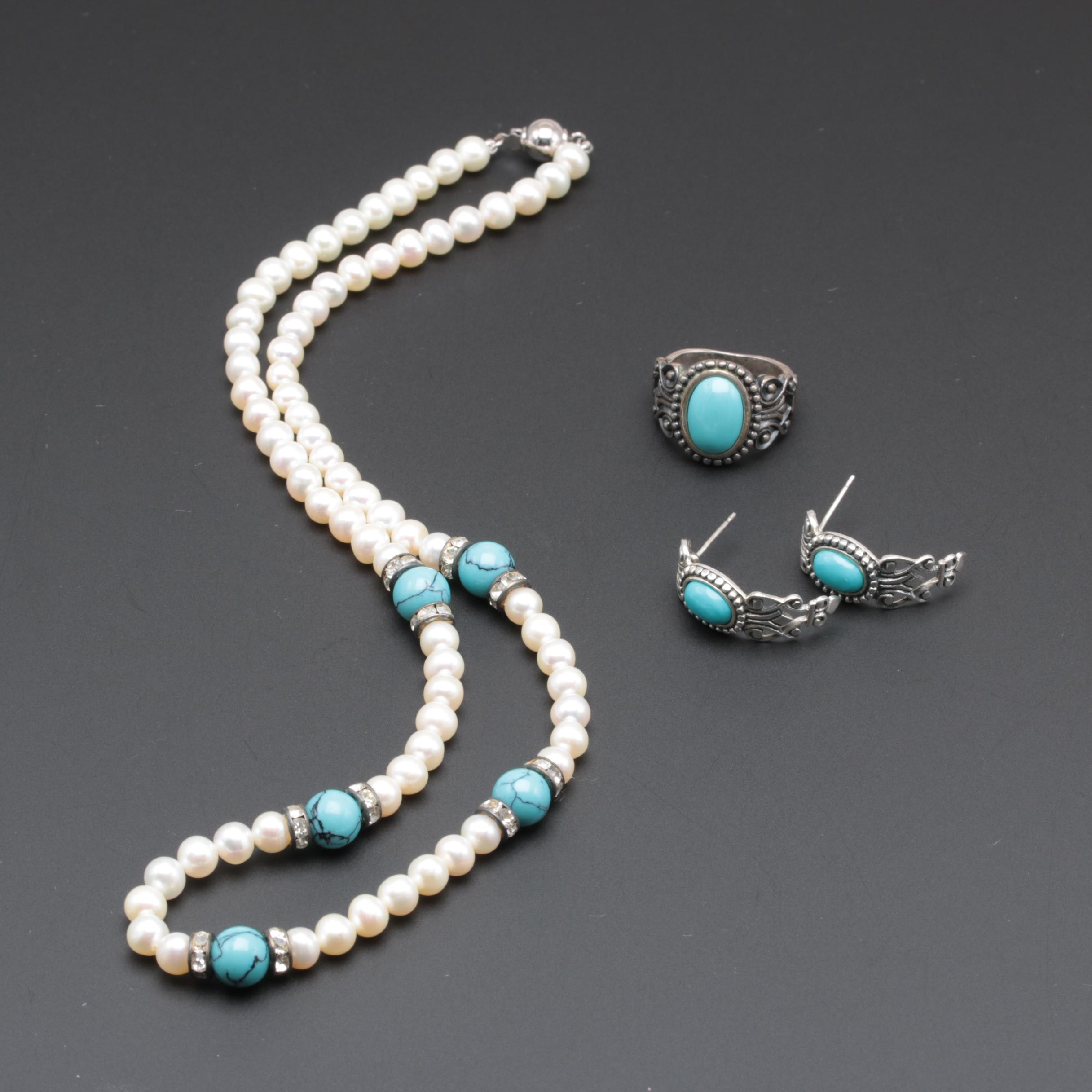 Sterling Silver Jewelry Featuring Cultured Pearl and Imitation Turquoise