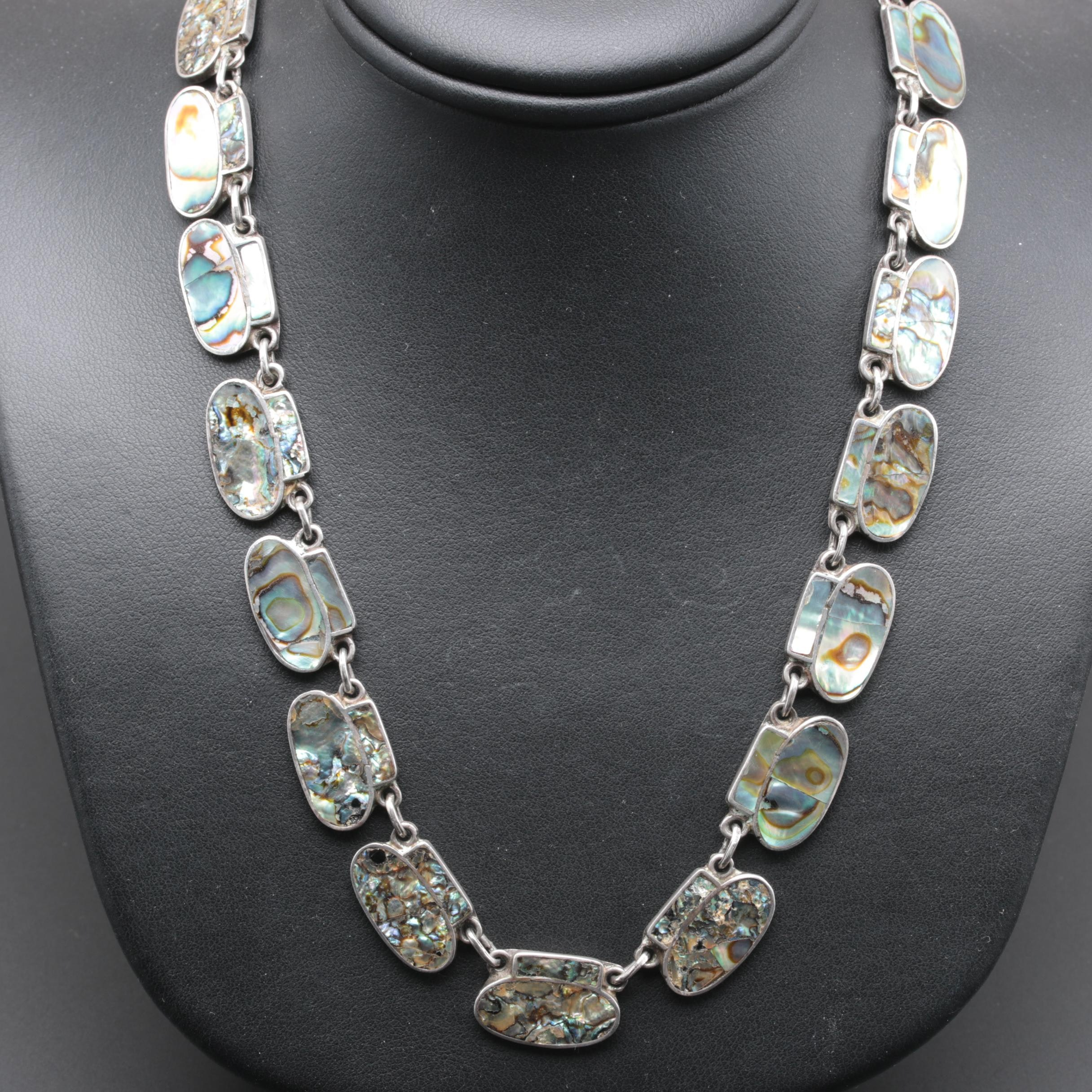 Mexico Sterling Silver Abalone Necklace