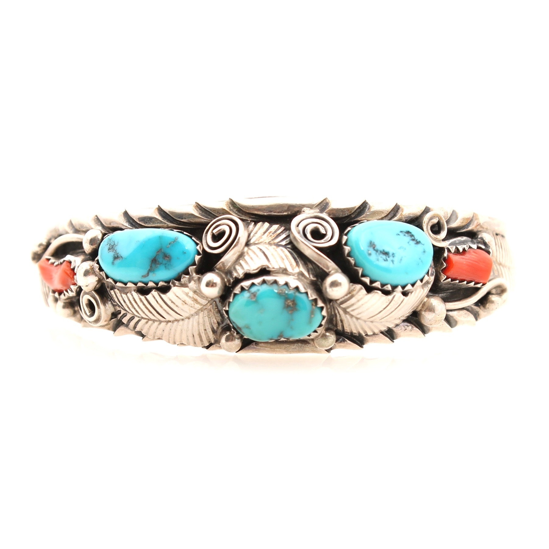 R. Shakey Sterling Silver Coral and Dyed Turquoise Cuff