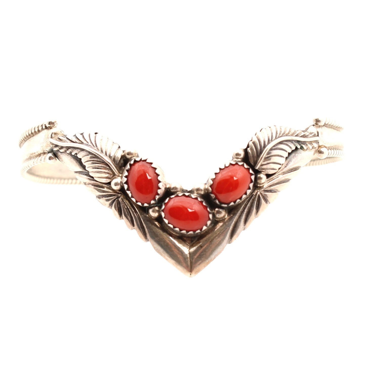 Sterling Silver Dyed Coral Cuff