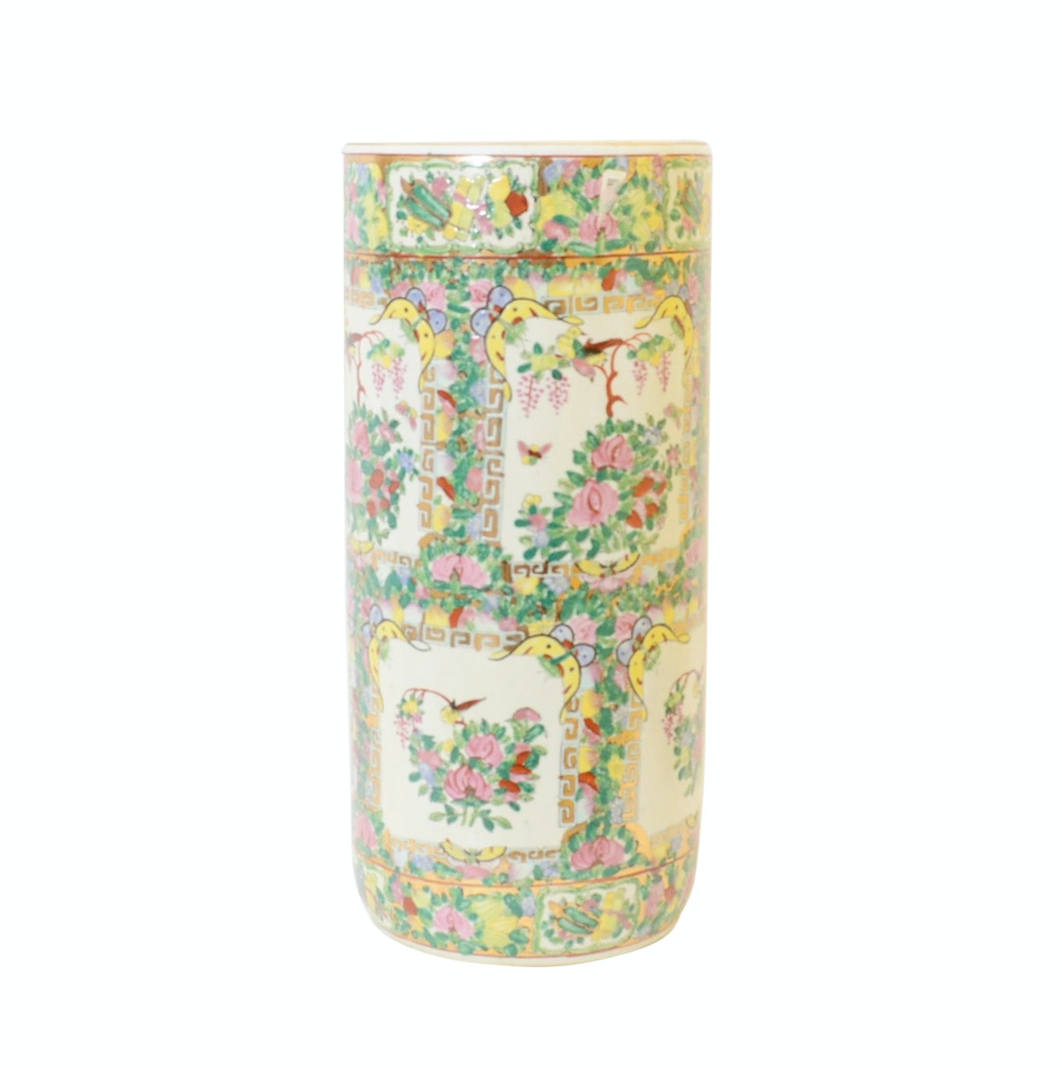 Chinese Rose Canton Hand Pained Porcelain Umbrella Stand