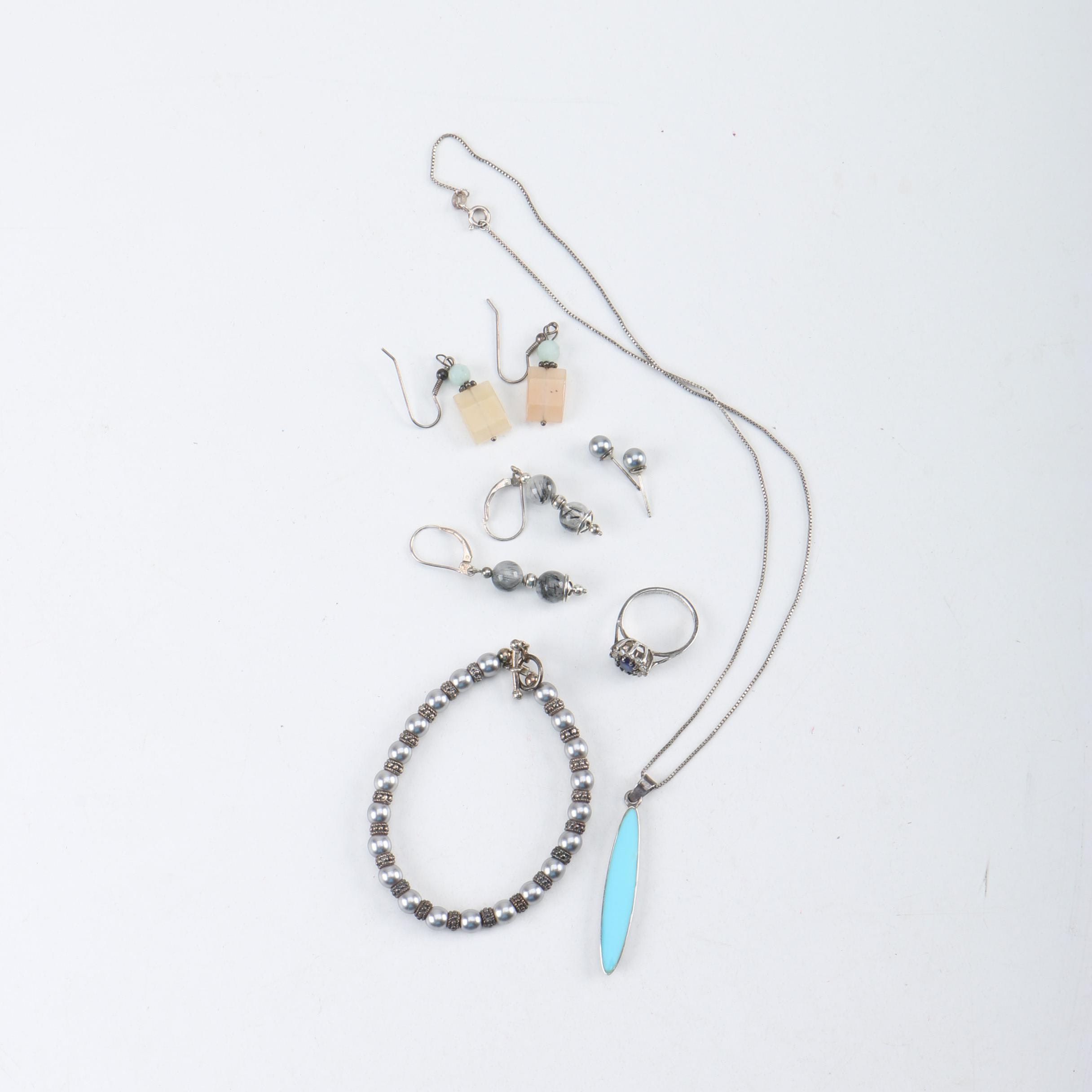Sterling Silver Jewelry With Synthetic Pearl, Imitation Turquoise, and Glass