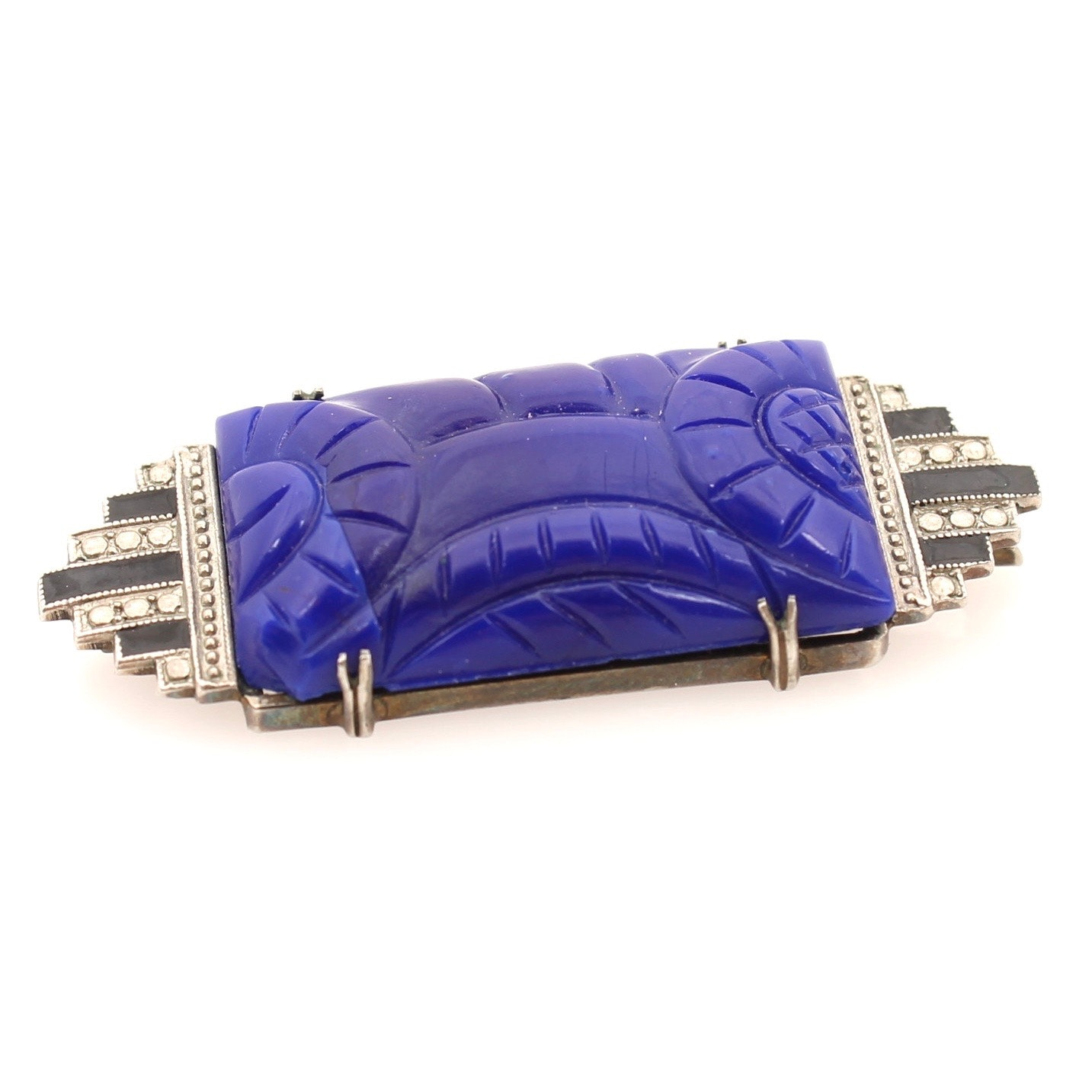 Art Deco Style Sterling Silver Synthetic Lapis Lazuli Brooch