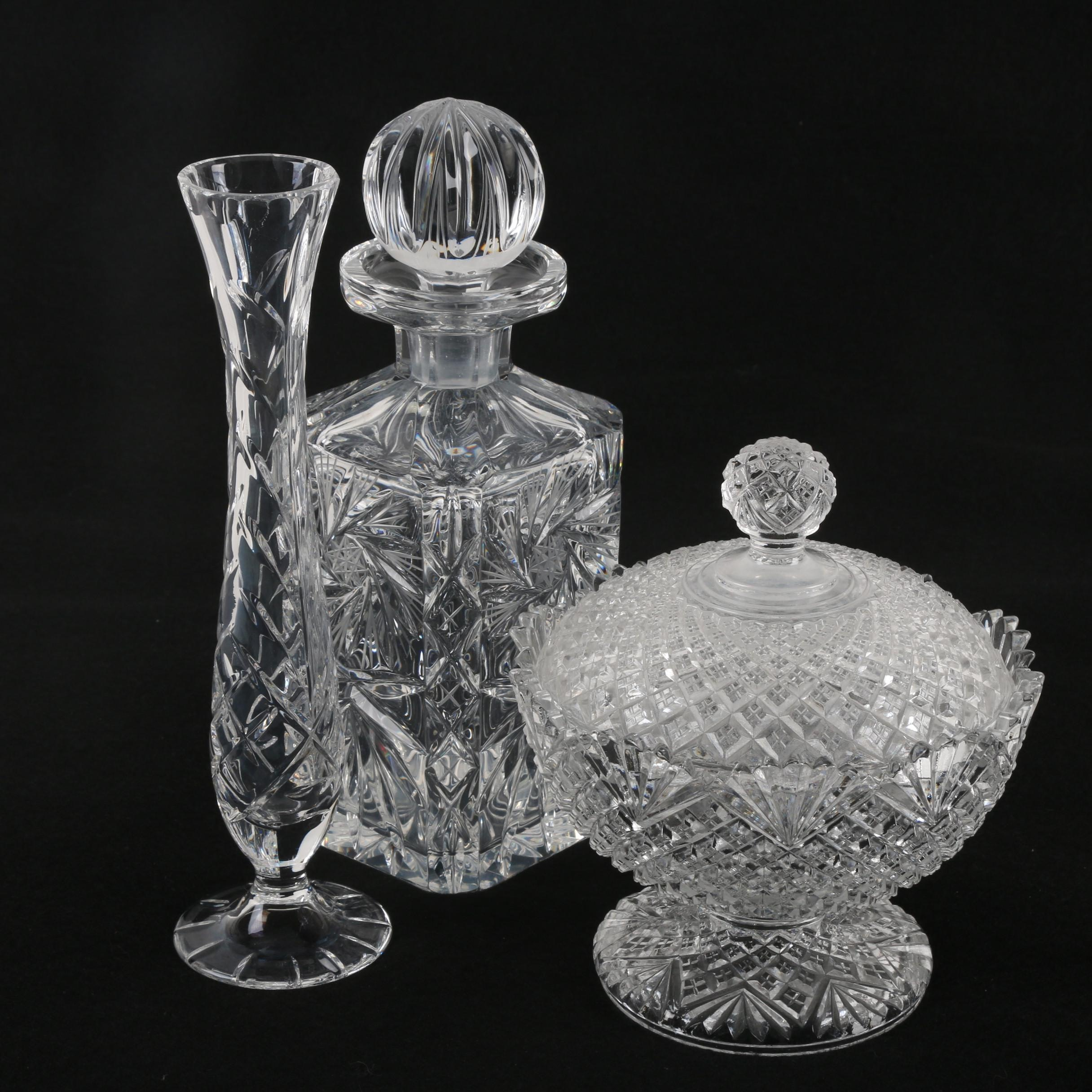 Crystal Decanter and Vase with Vintage Pressed Glass Candy Dish
