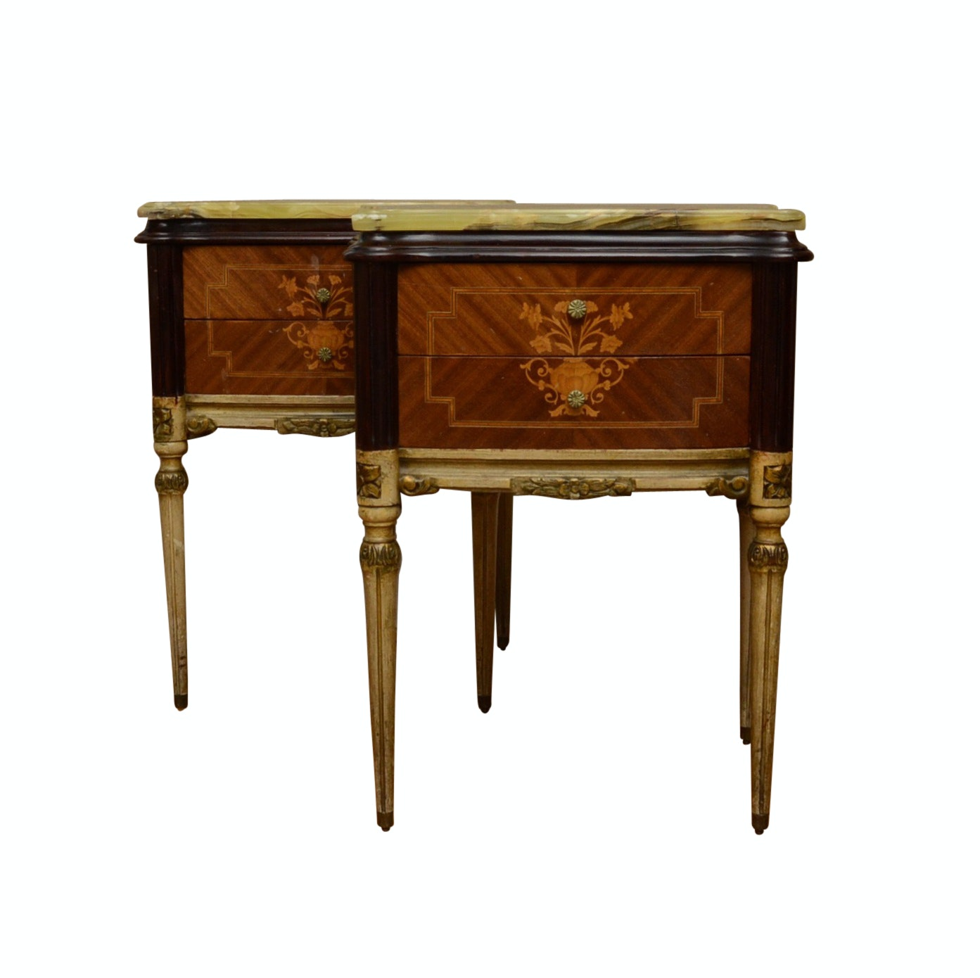 Pair of French Reproduction Side Tables with Onyx Top, Circa 1920's