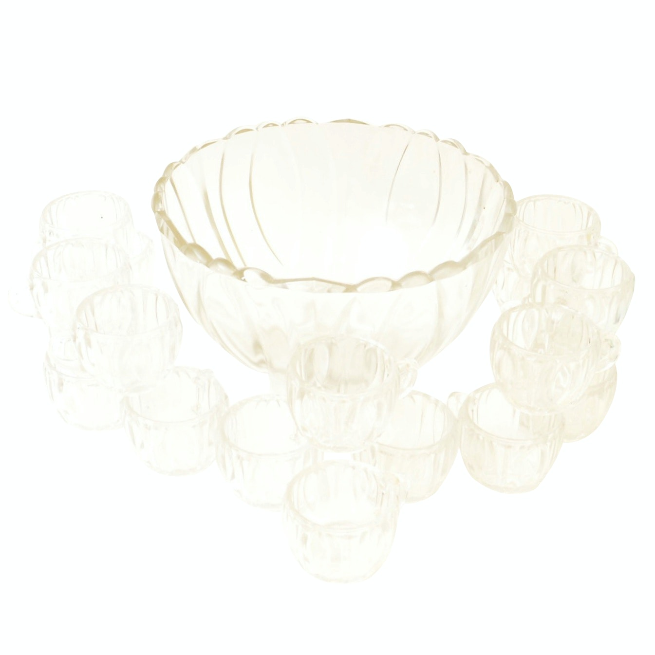 Vintage Glass Punch Bowl with Eighteen Cups
