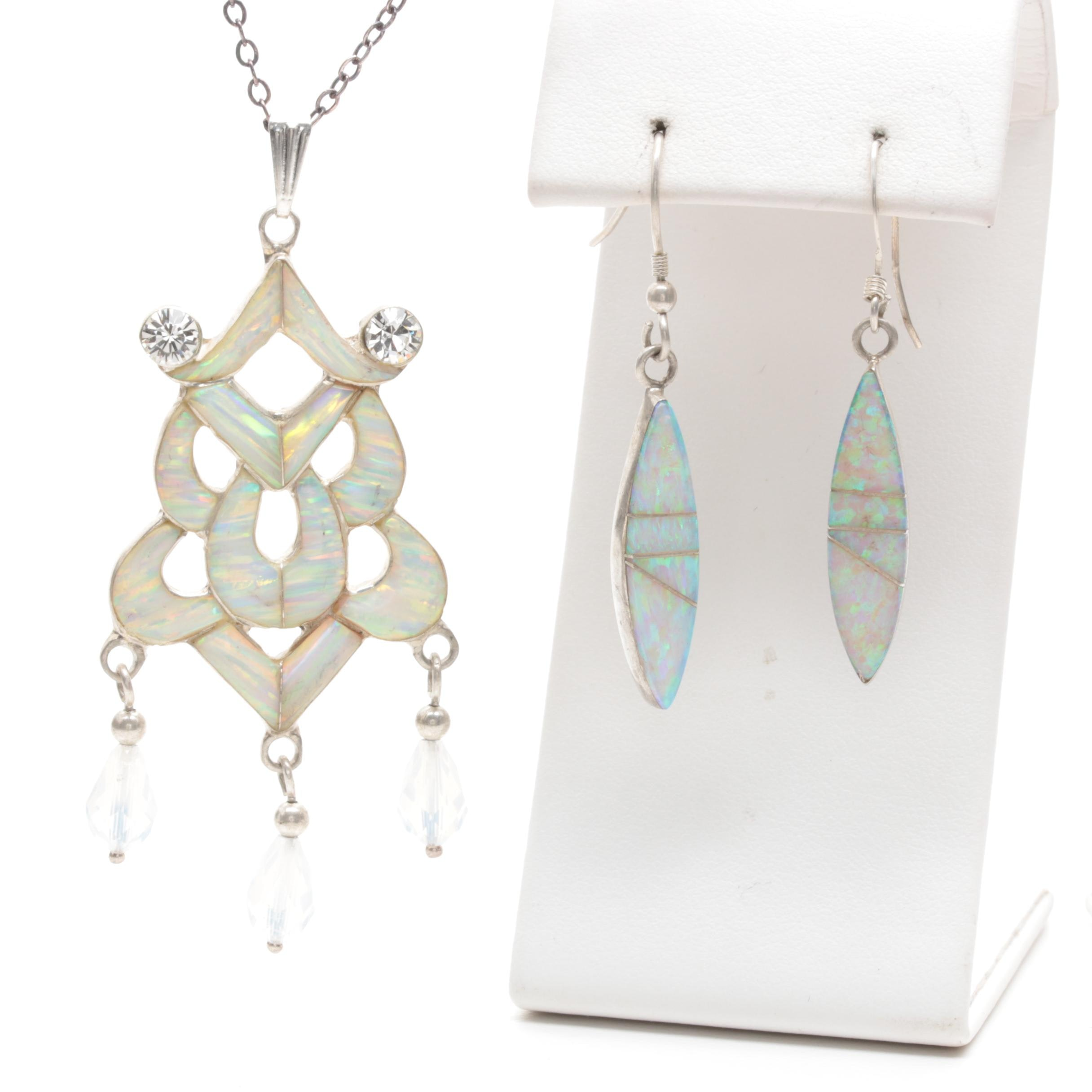 Sterling Silver Gemstone Jewelry Selection Including Synthetic Opal