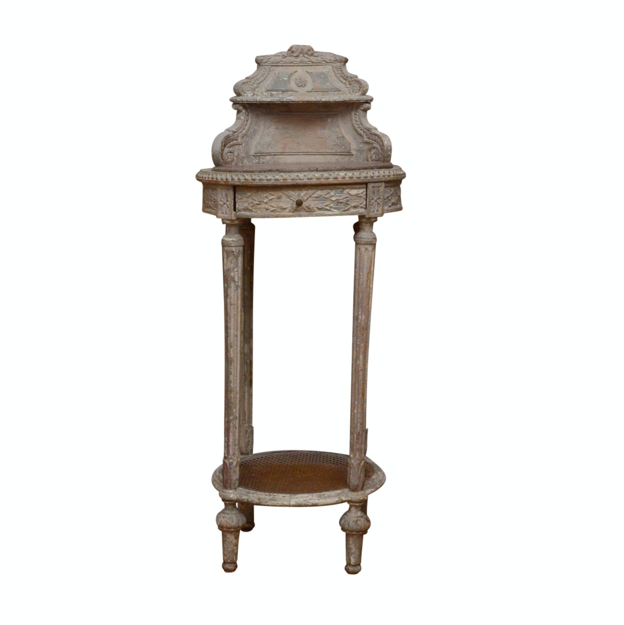 Antique French Corner Table with Marble Top