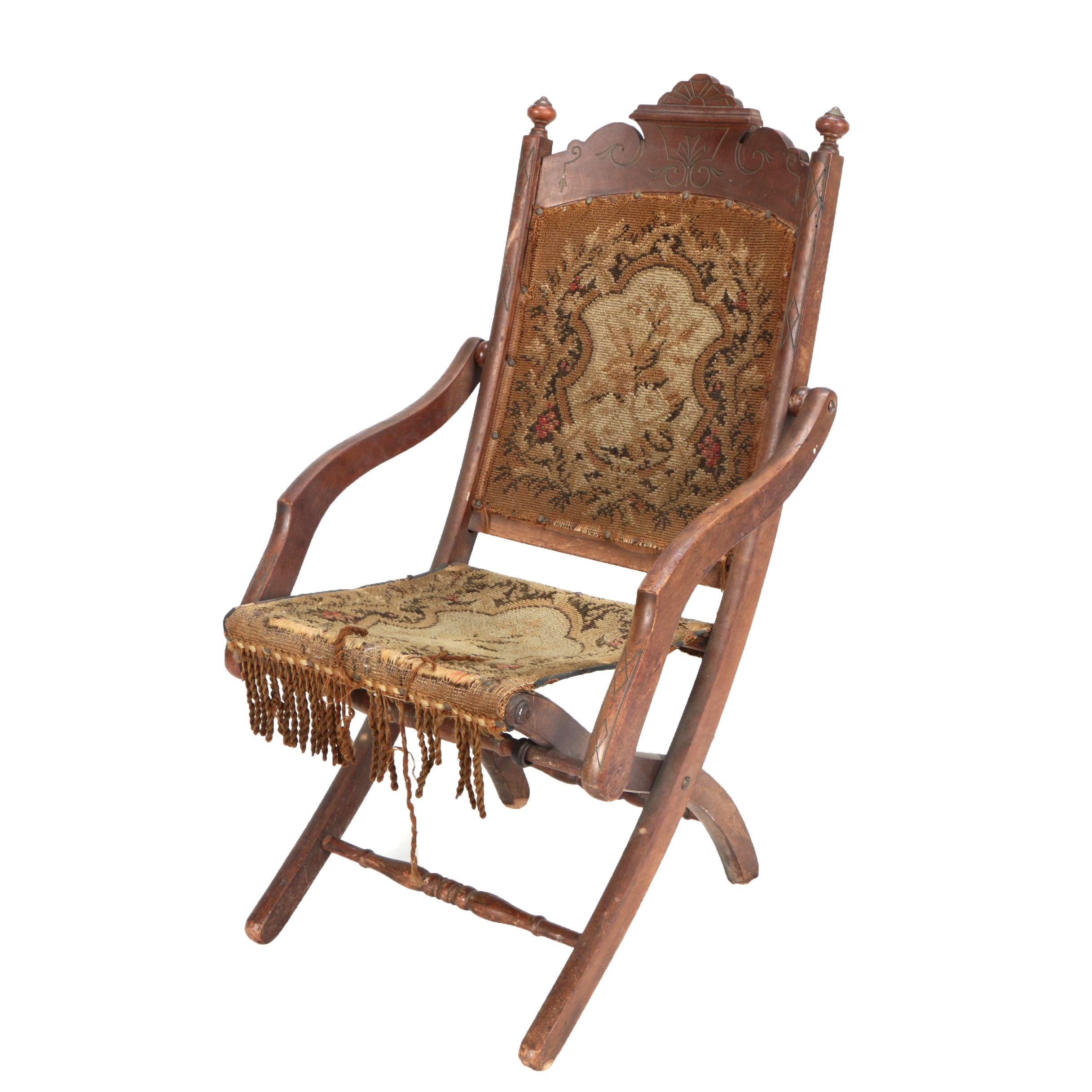 Antique Eastlake Upholstered Folding Chair