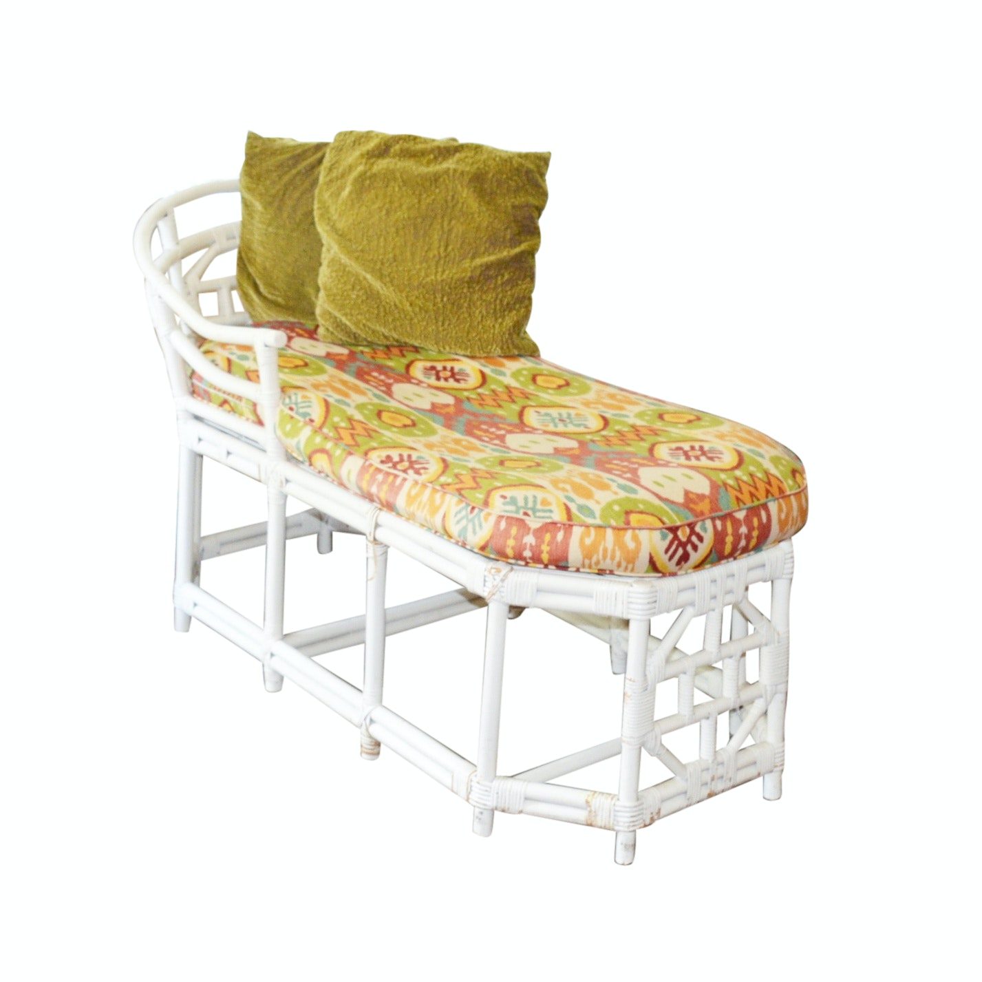 Rattan Chaise Lounger with Custom Cushion and Dransfield & Ross Velvet Pillows