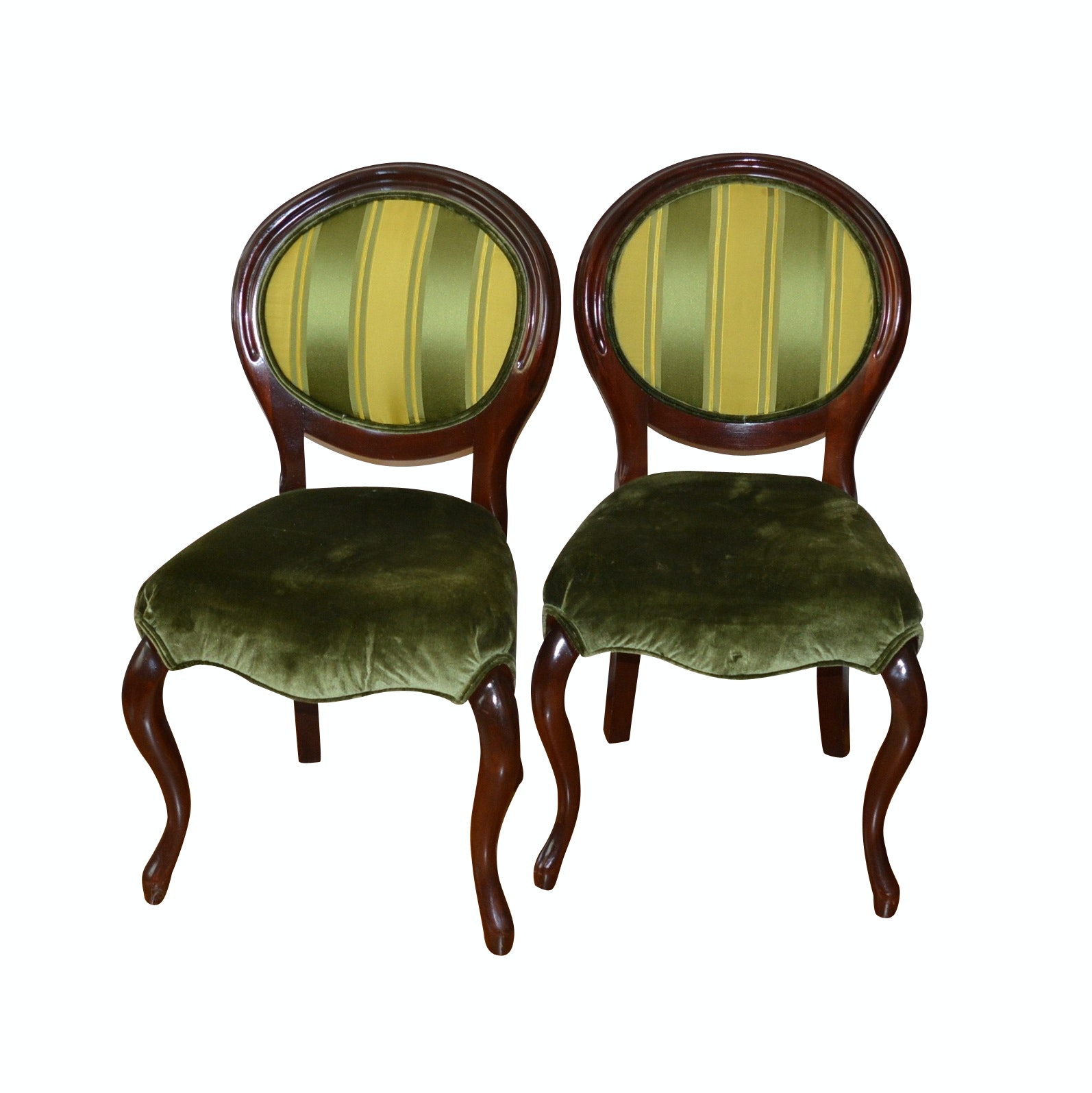 Pair of Antique Balloon Back Chairs with Scalamandre Silk and Velvet Fabric