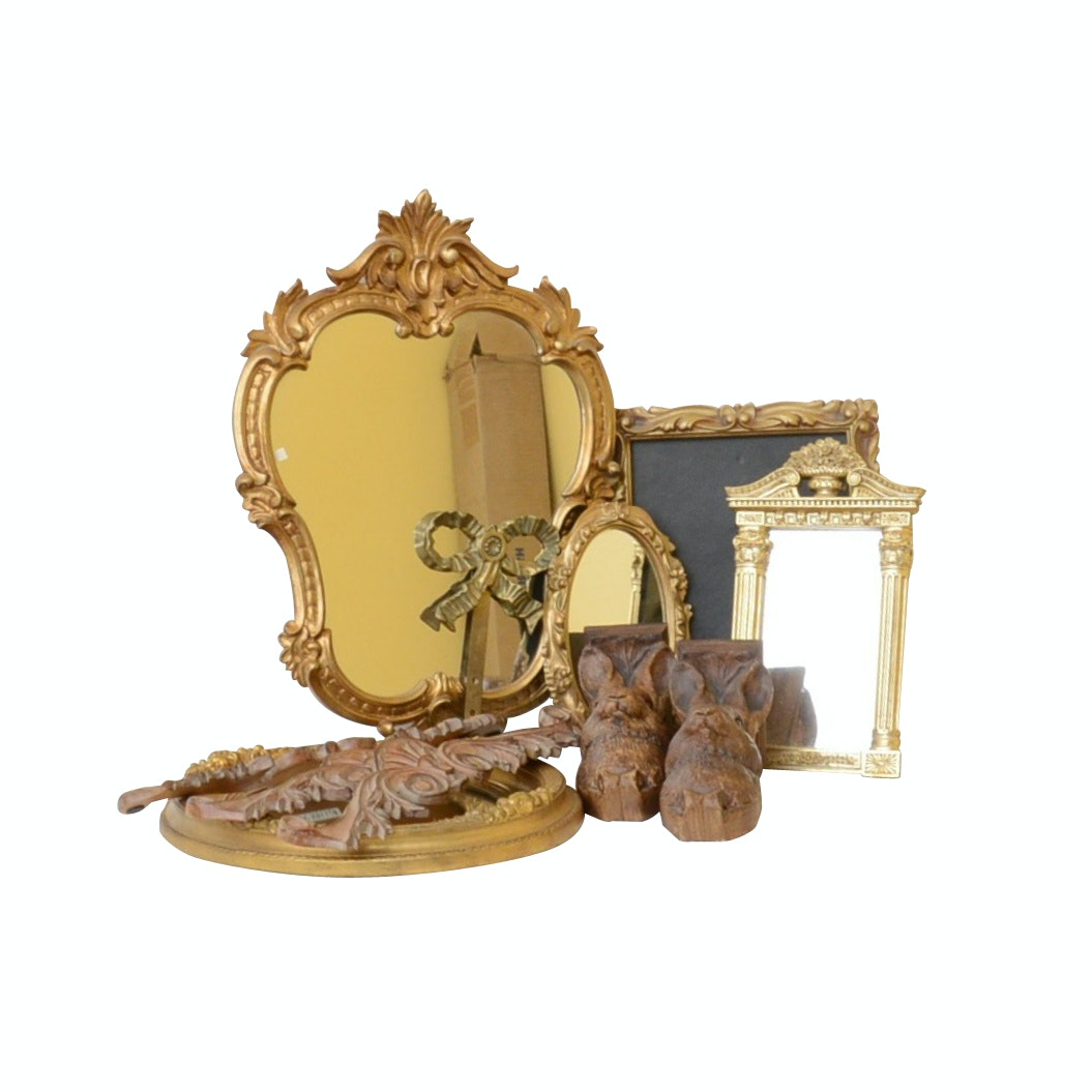 Telle M. Stein Handcast Rabbit Drapery Brackets and Vintage Gold-Tone Mirrors