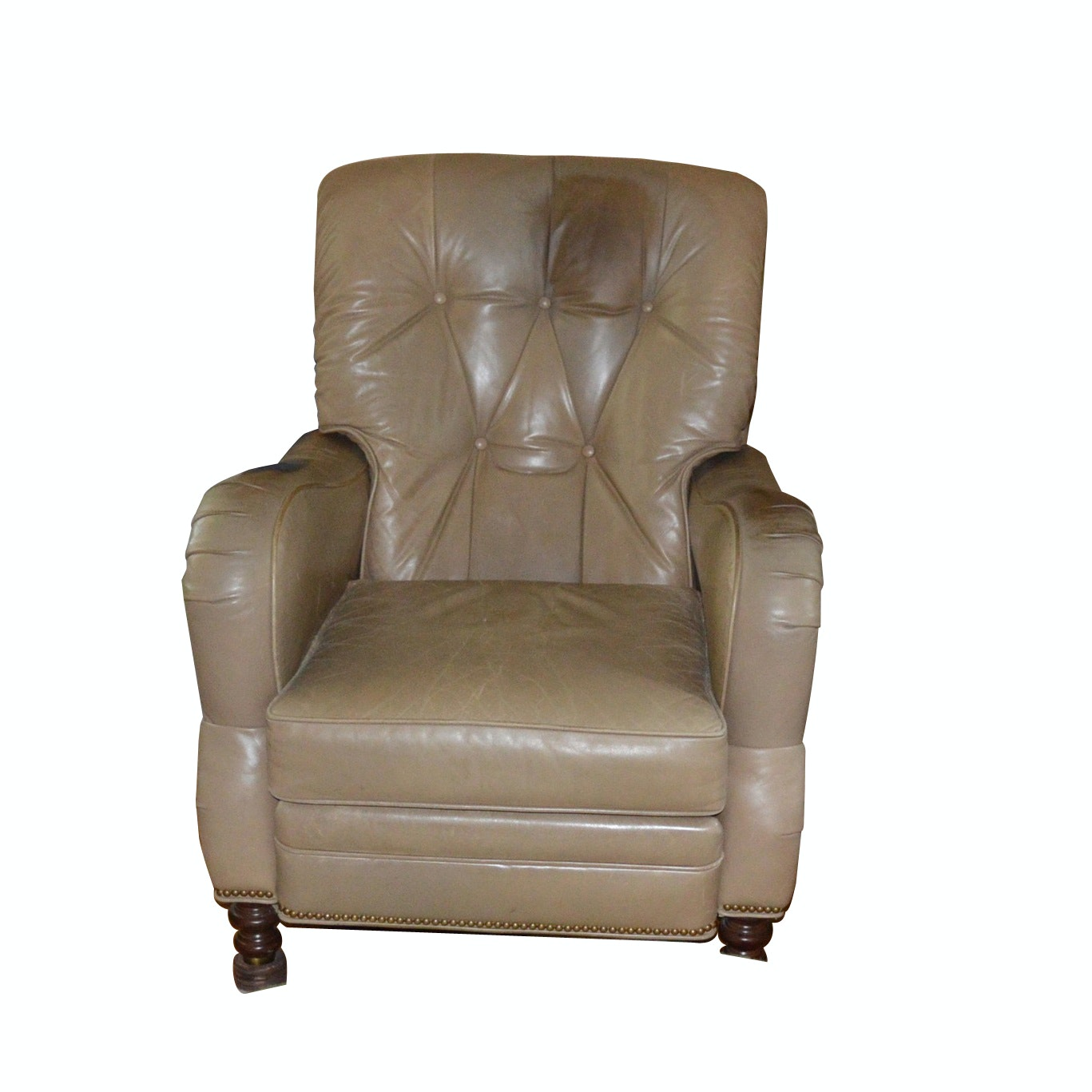 Motioncraft Leather Recliner with Antique Brass Nailhead Trim