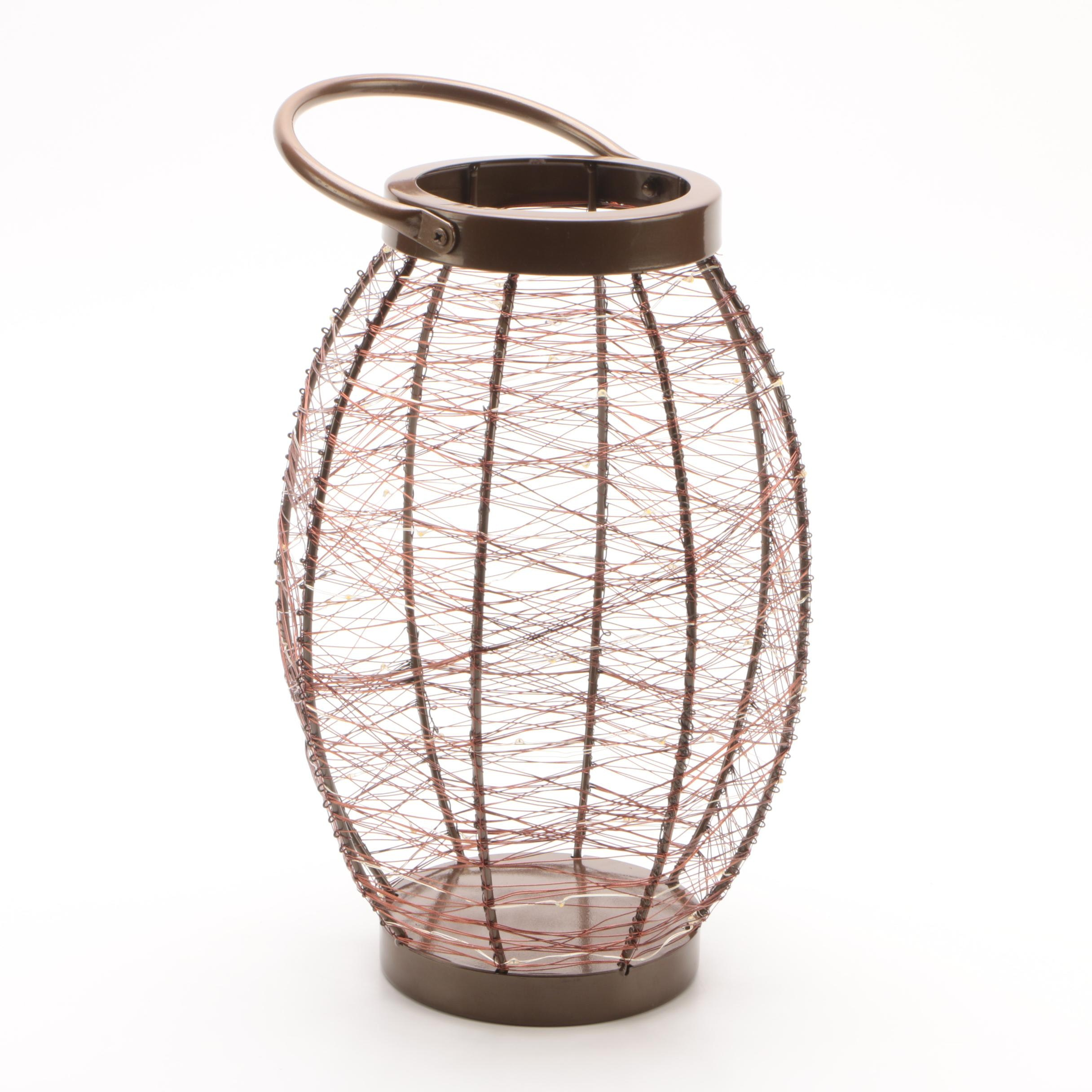 Metal Wire and LED Light Wrapped Lantern