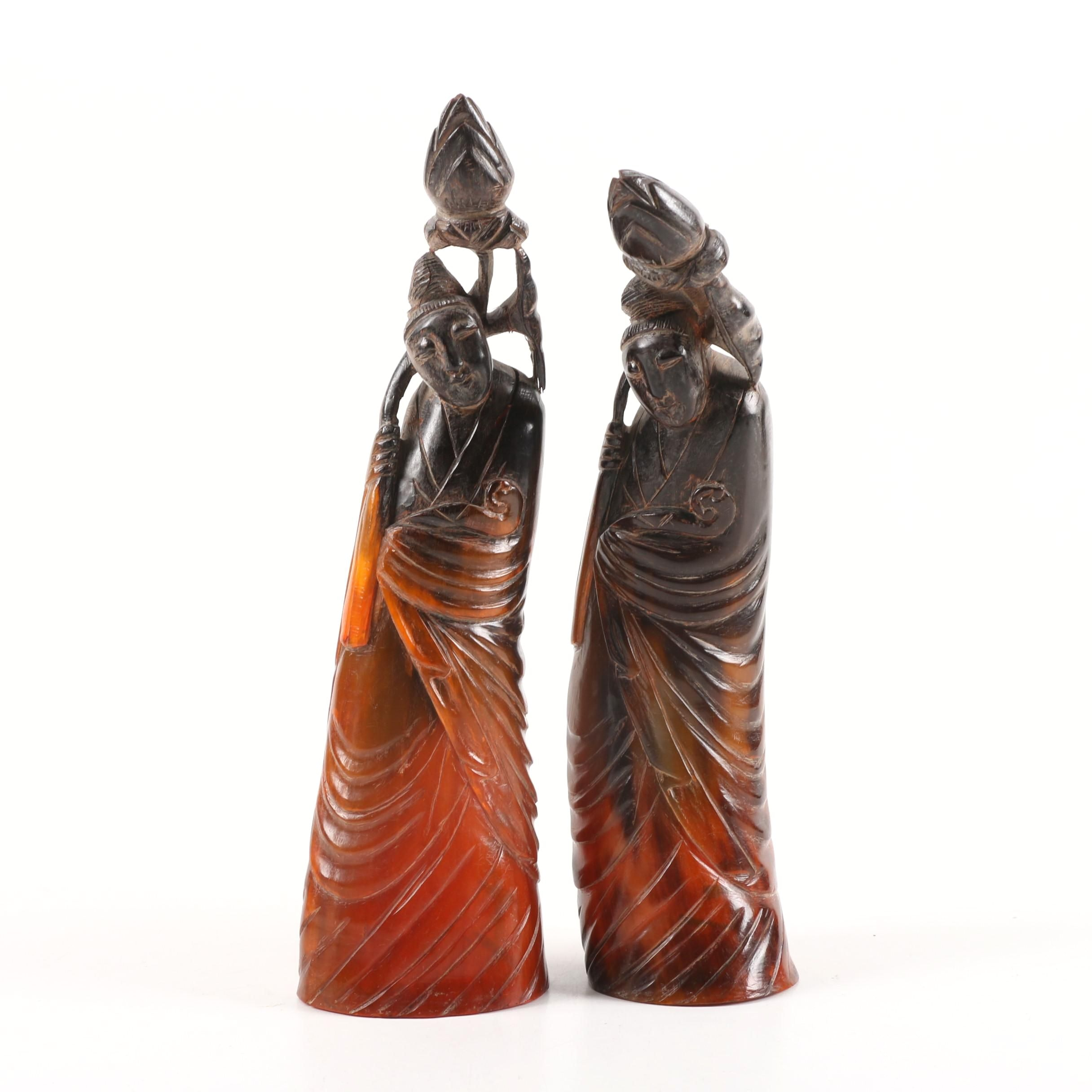 Vintage Chinese Inspired Carved Horn Figures