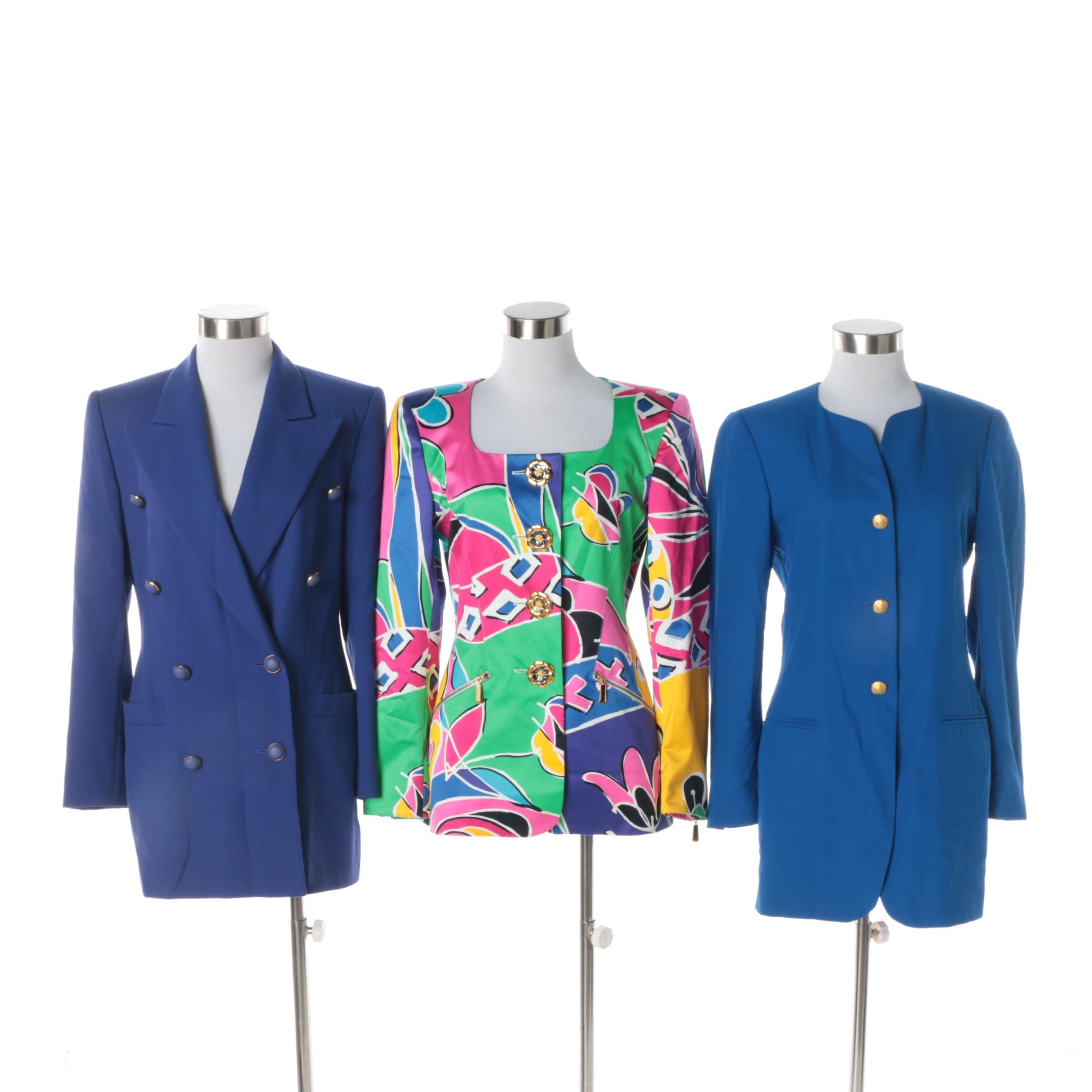 Escada by Margaretha Ley Blazers in Blue and Abstract Pattern